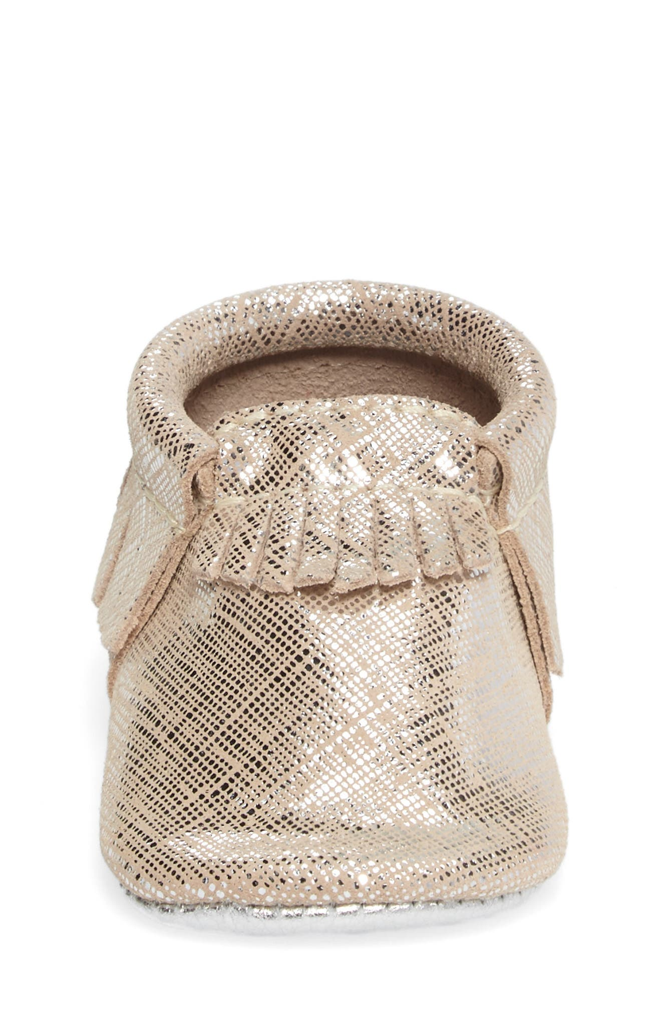 Fringe Metallic Moccasin,                             Alternate thumbnail 4, color,                             GOLD LEATHER