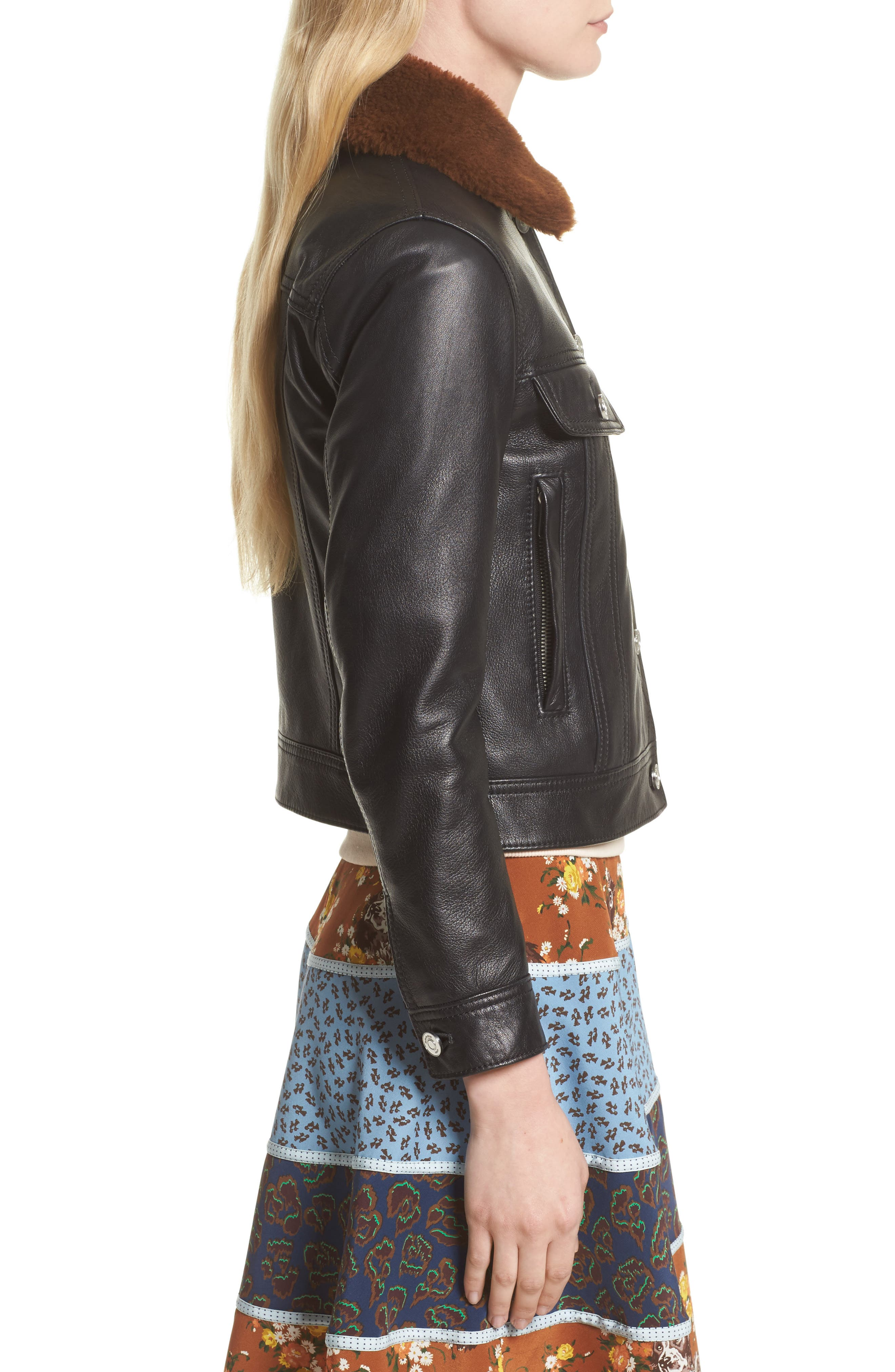 Leather Trucker Jacket with Removable Genuine Shearling Collar,                             Alternate thumbnail 4, color,