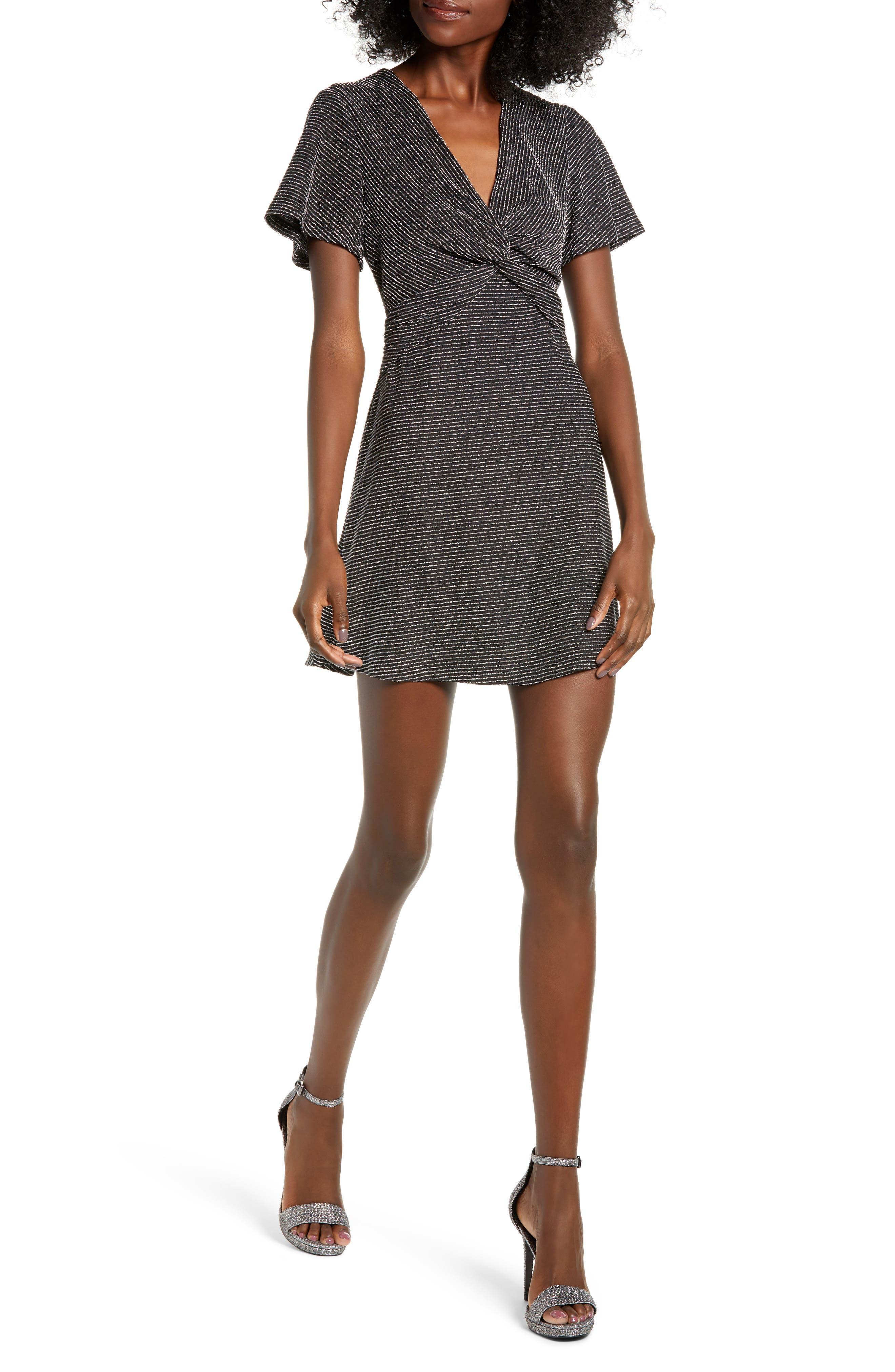 Sparkle Stripe Twist Front Minidress,                             Main thumbnail 1, color,                             001