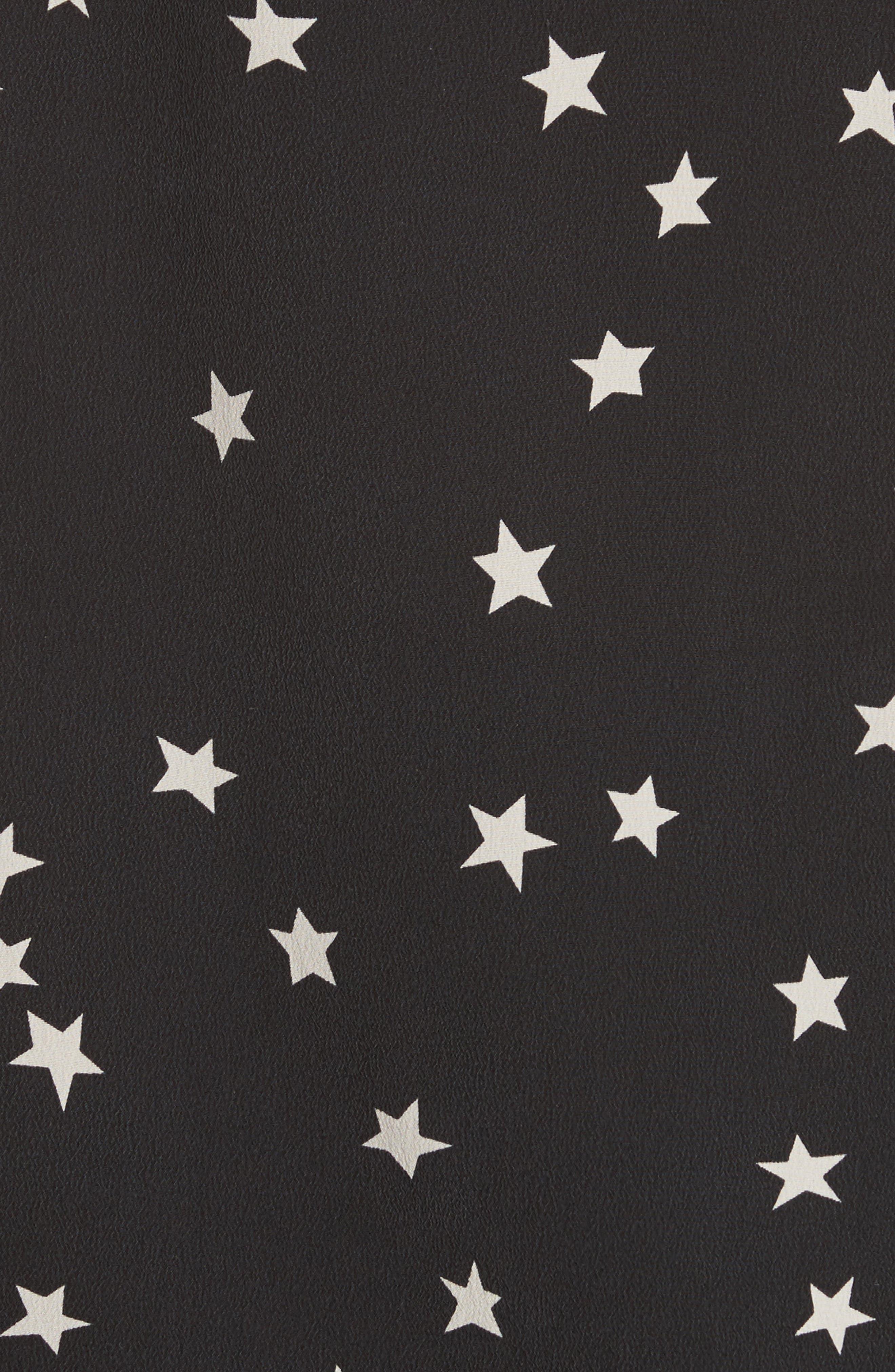 Layla Star Print Silk Camisole,                             Alternate thumbnail 5, color,                             001