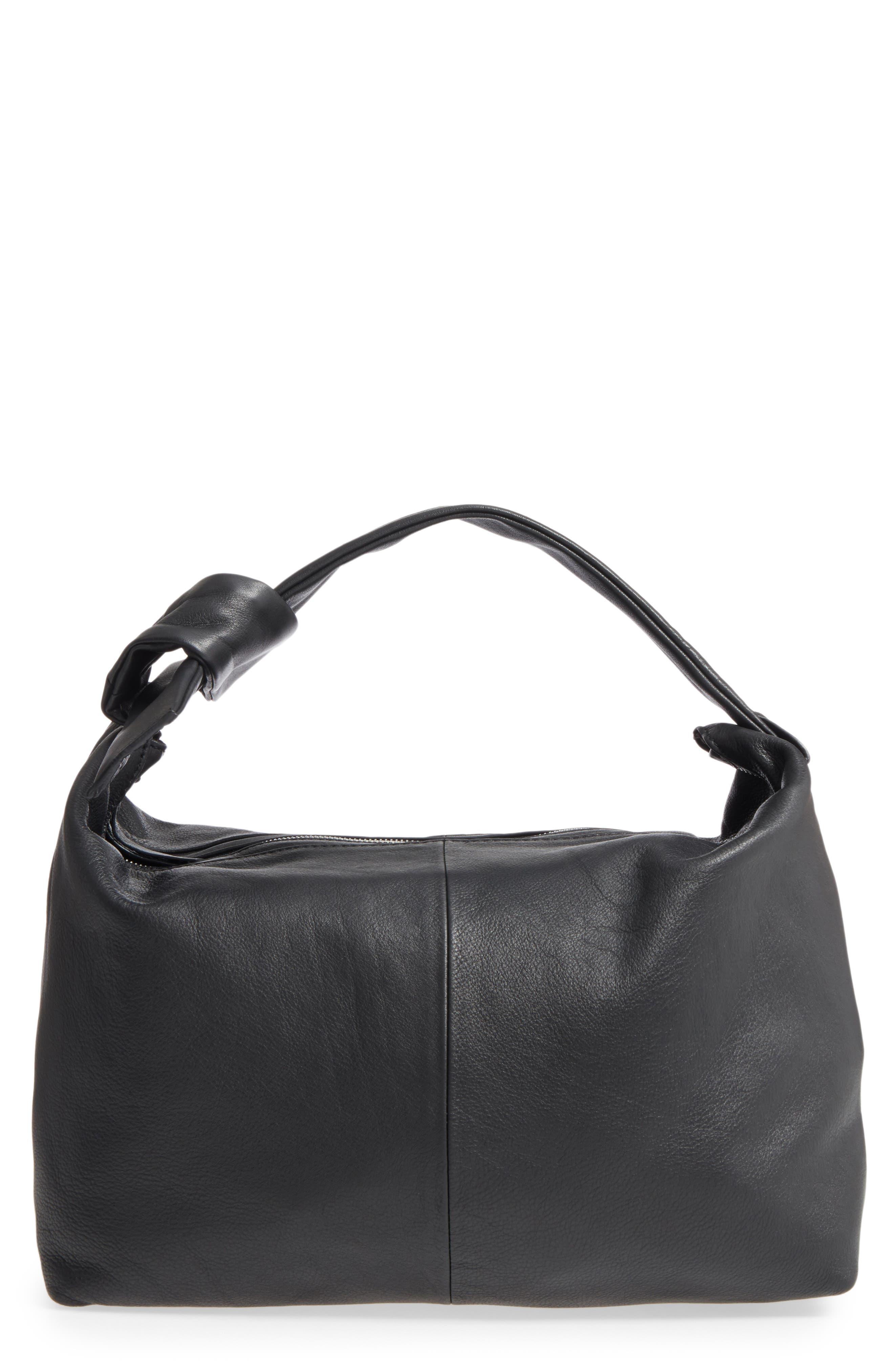 Premium Leather Jasmine Hobo Bag,                         Main,                         color, 001