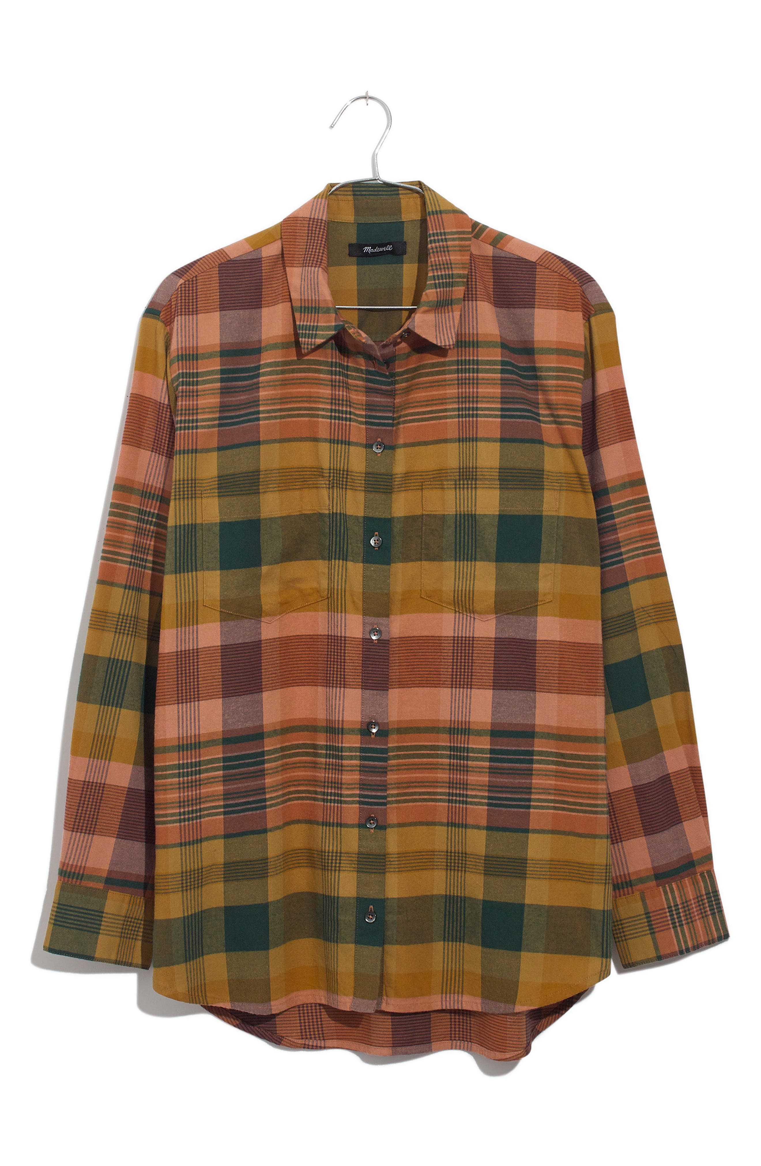 Seconda Plaid Sunday Flannel Shirt,                             Alternate thumbnail 5, color,                             EGYPTIAN GOLD