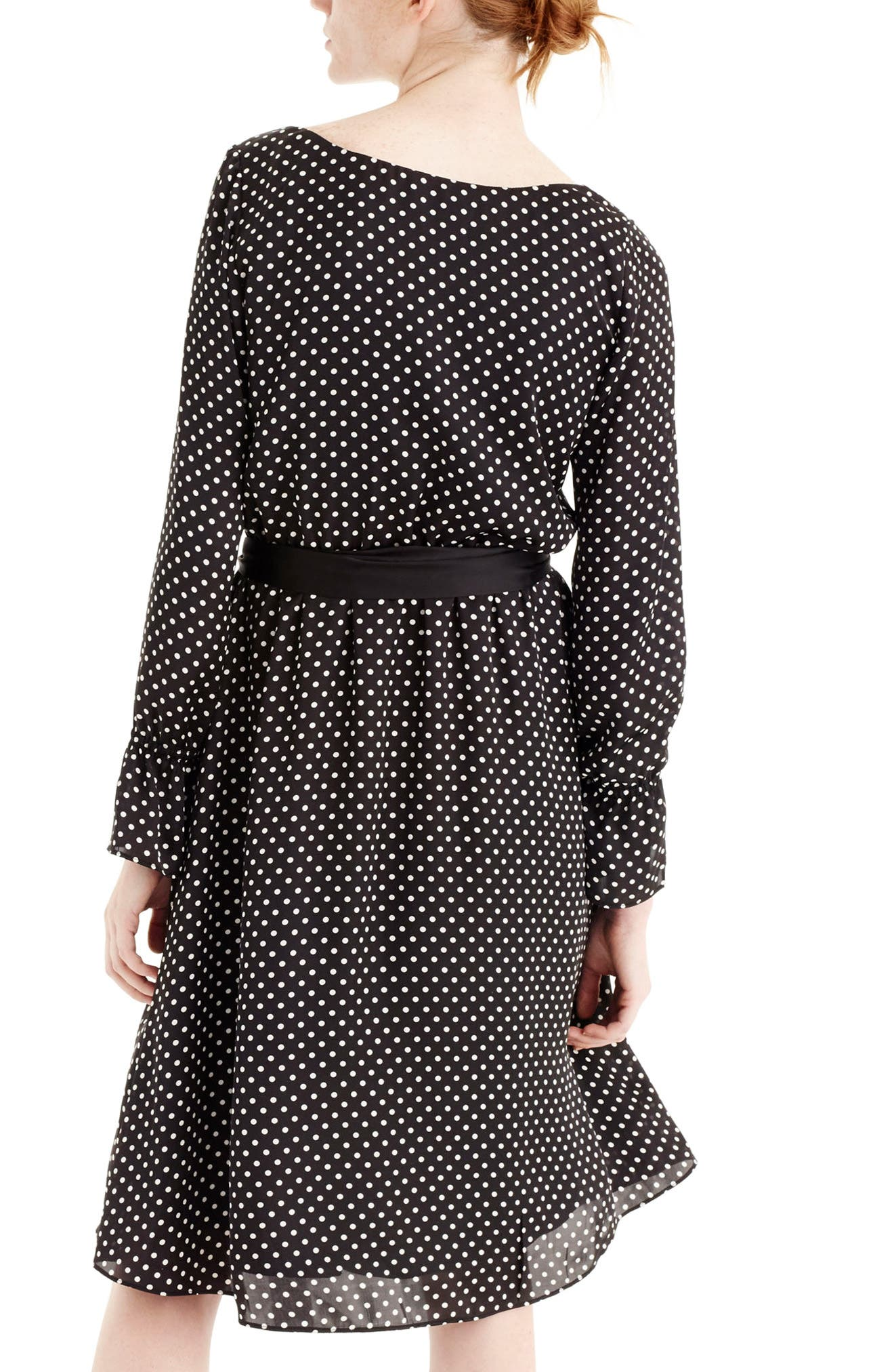 Long Sleeve Polka Dot Dress,                             Alternate thumbnail 2, color,                             009