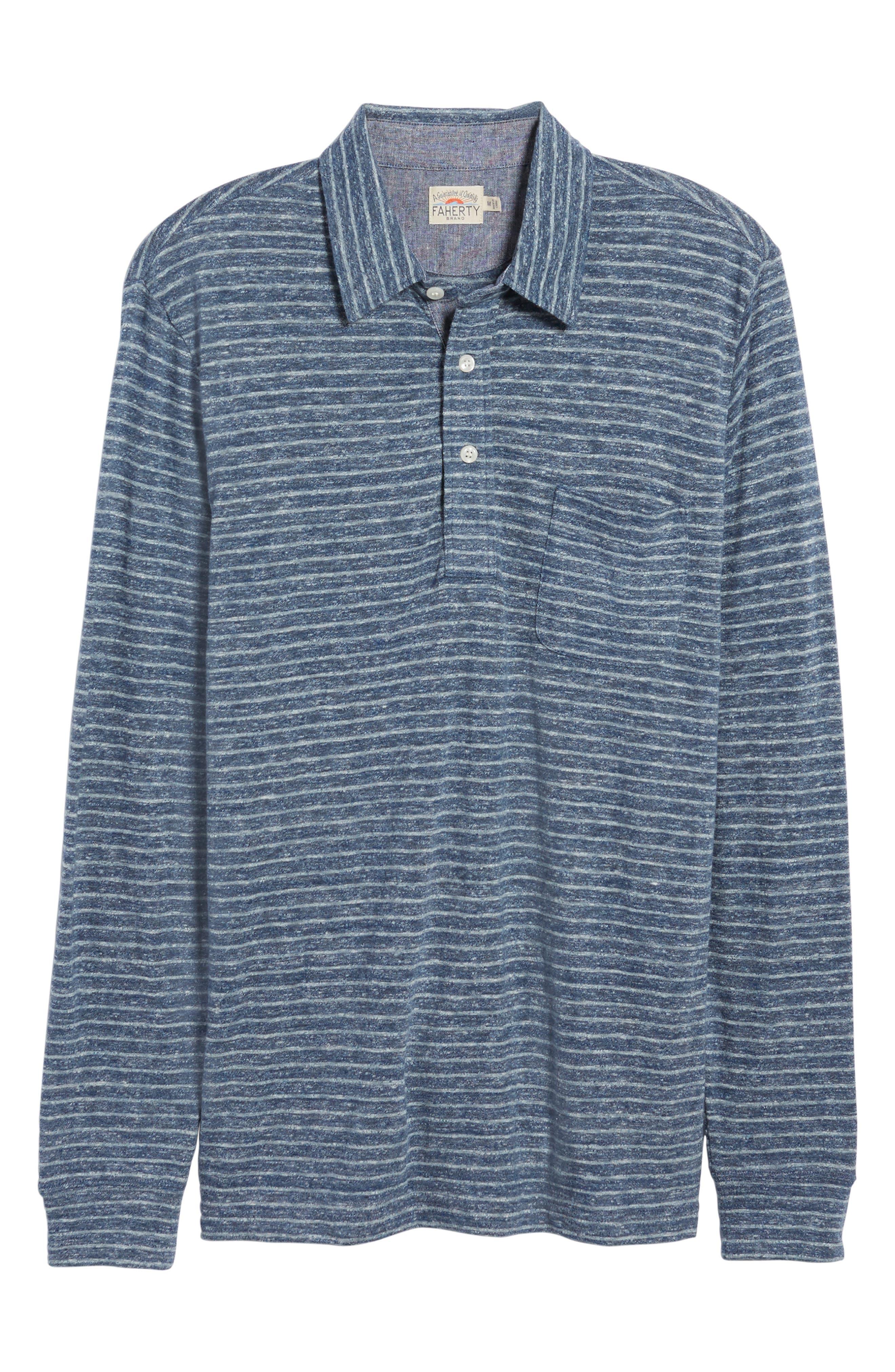 Stripe Long Sleeve Polo,                             Alternate thumbnail 6, color,                             412