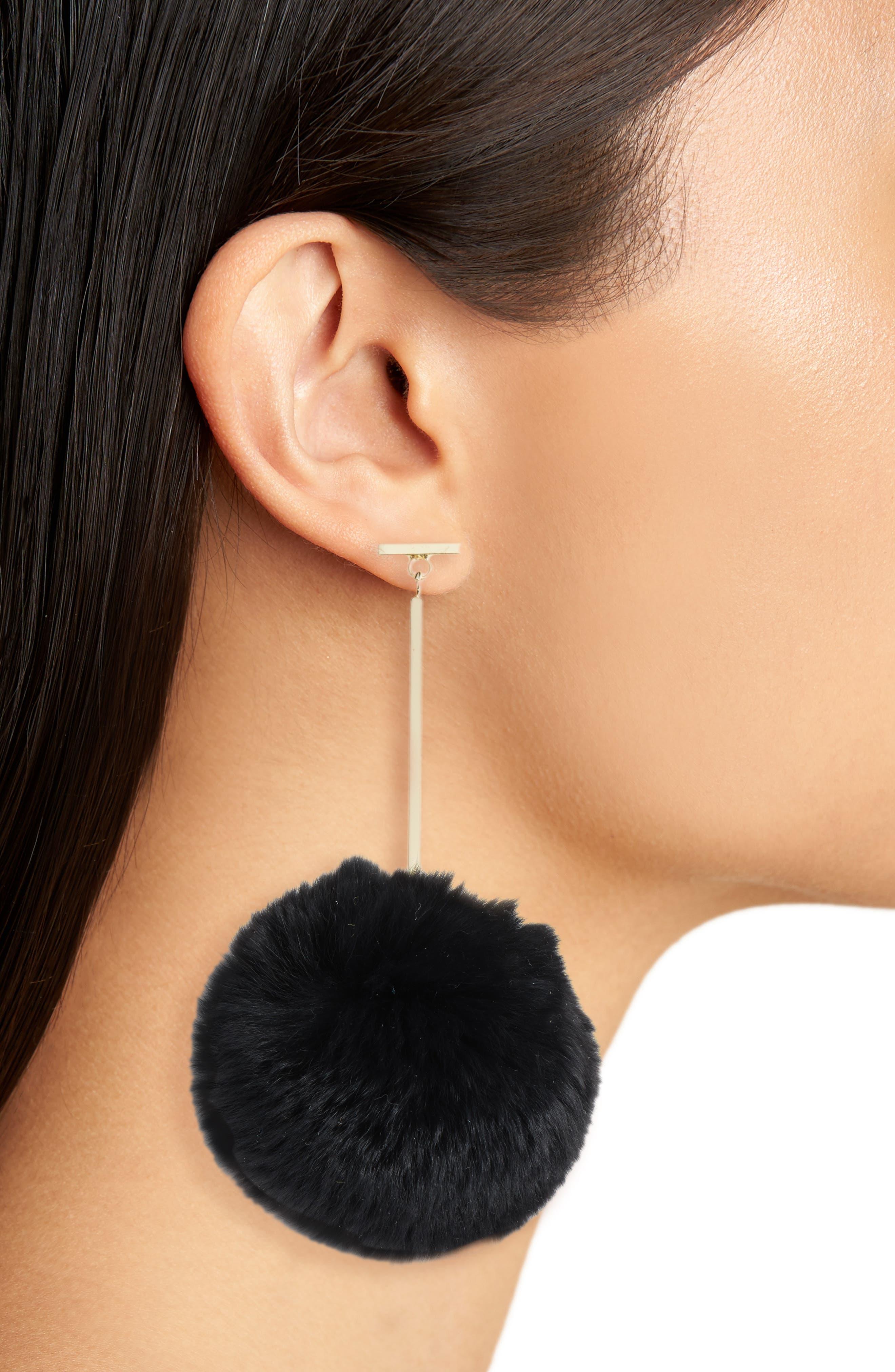 Genuine Rabbit Fur Pompom Drop Earrings,                             Alternate thumbnail 2, color,                             001