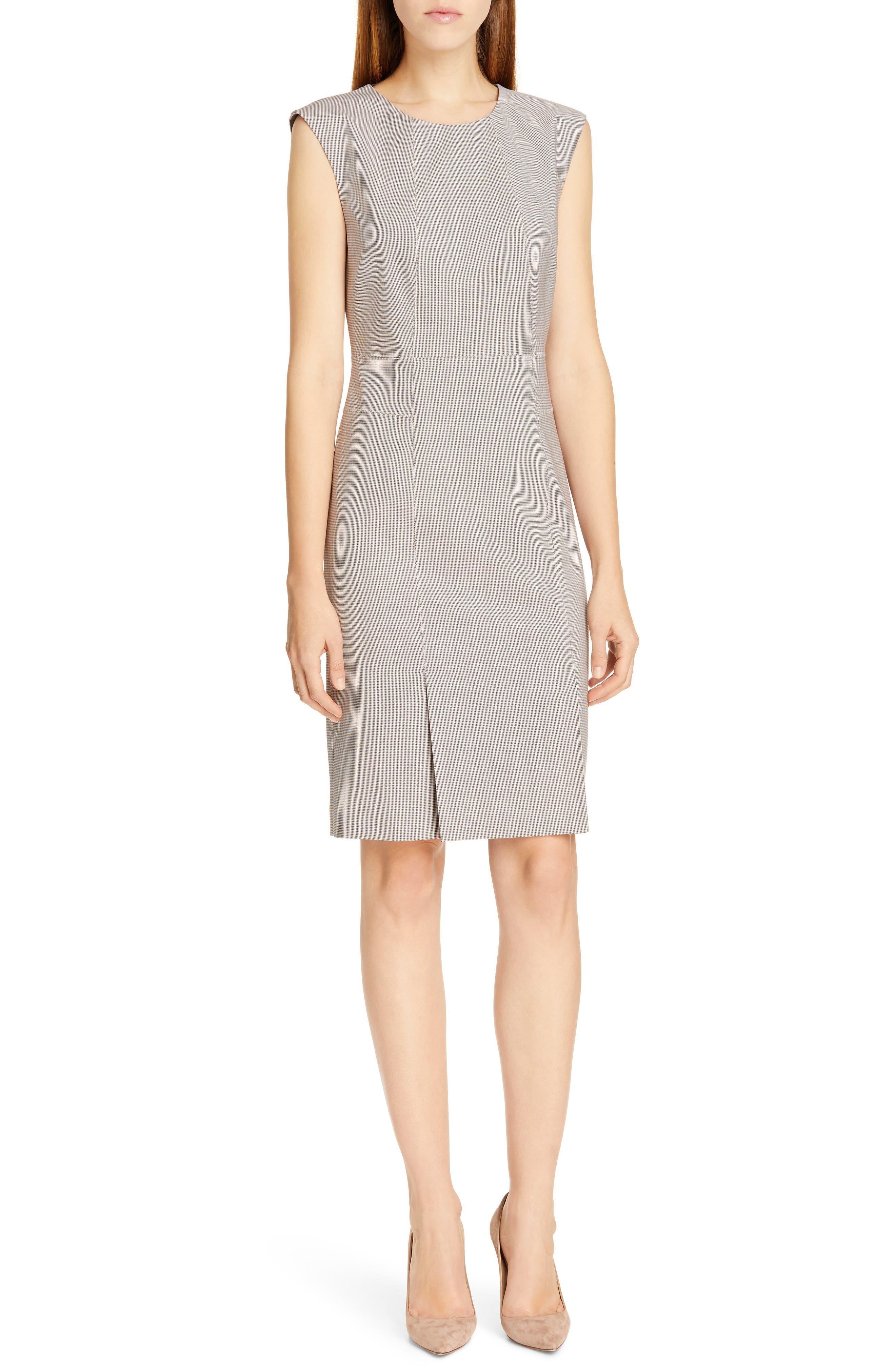 Boss Delilia Mini Houndstooth Wool Sheath Dress, White