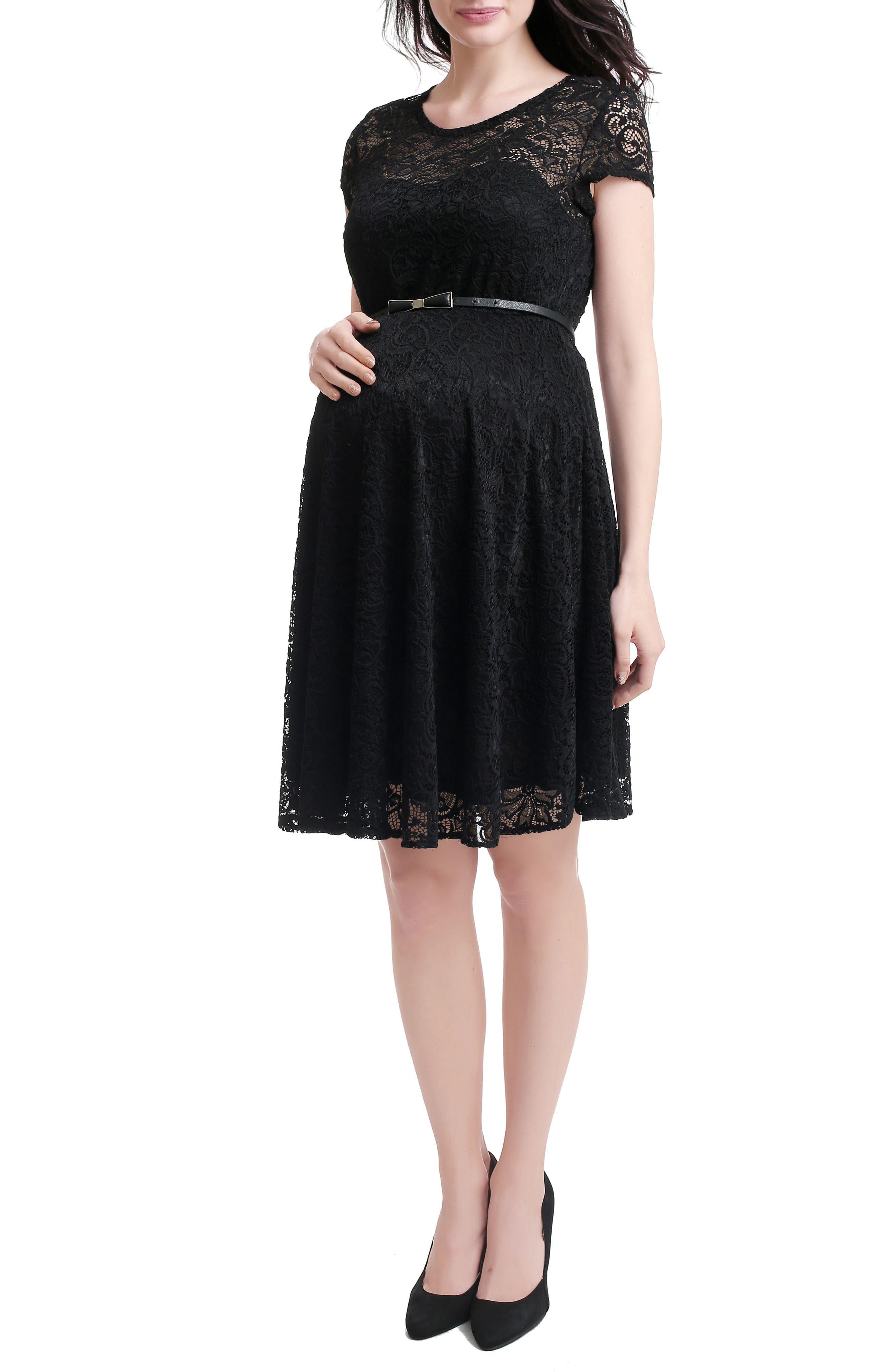 Lace Maternity Skater Dress,                             Alternate thumbnail 2, color,                             BLACK