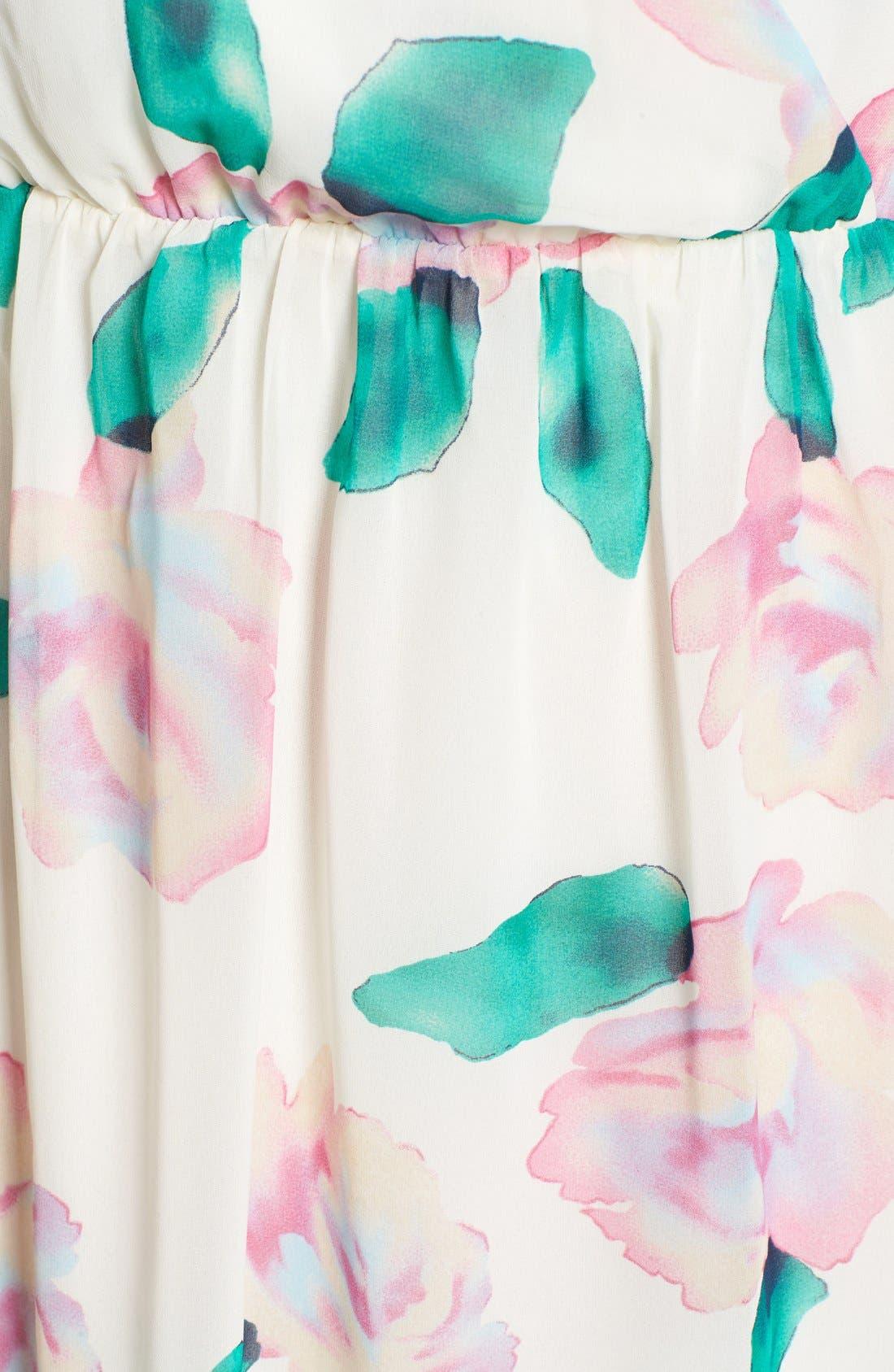 Floral Print A-Line Dress,                             Alternate thumbnail 2, color,                             110