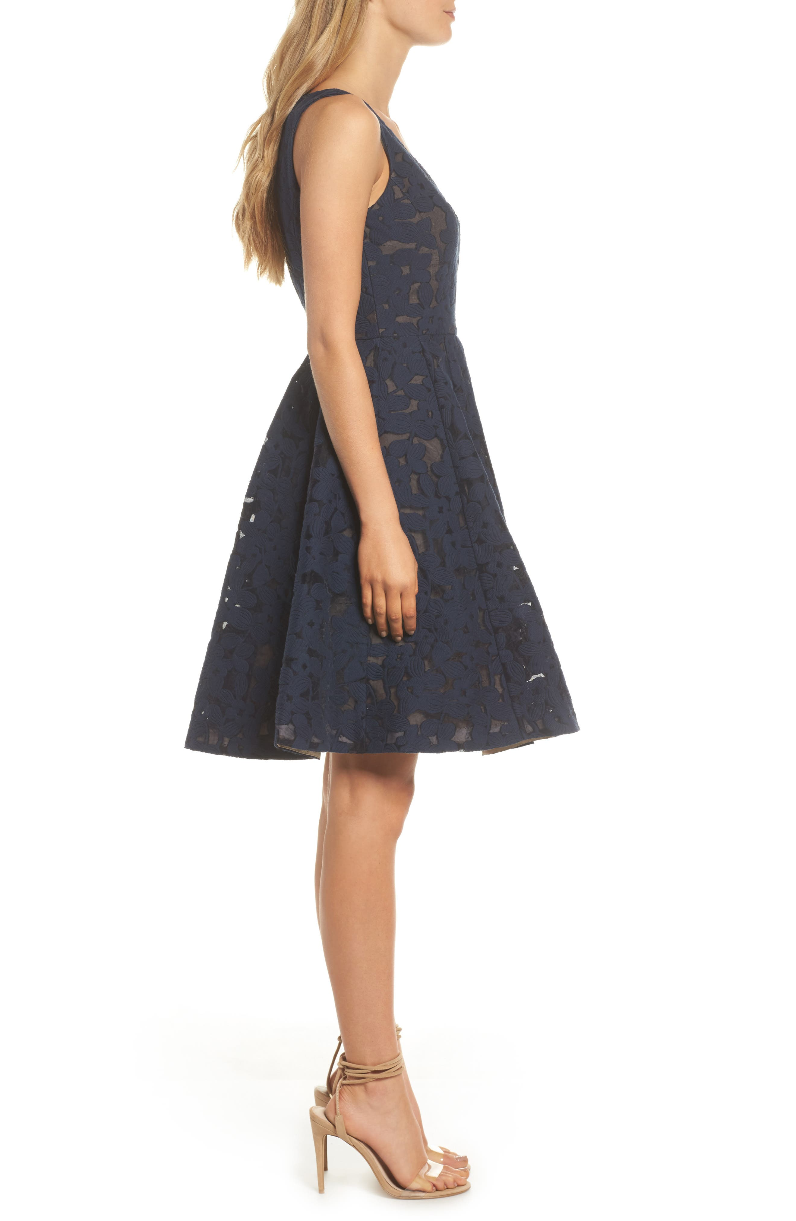 Fit & Flare Dress,                             Alternate thumbnail 3, color,                             402