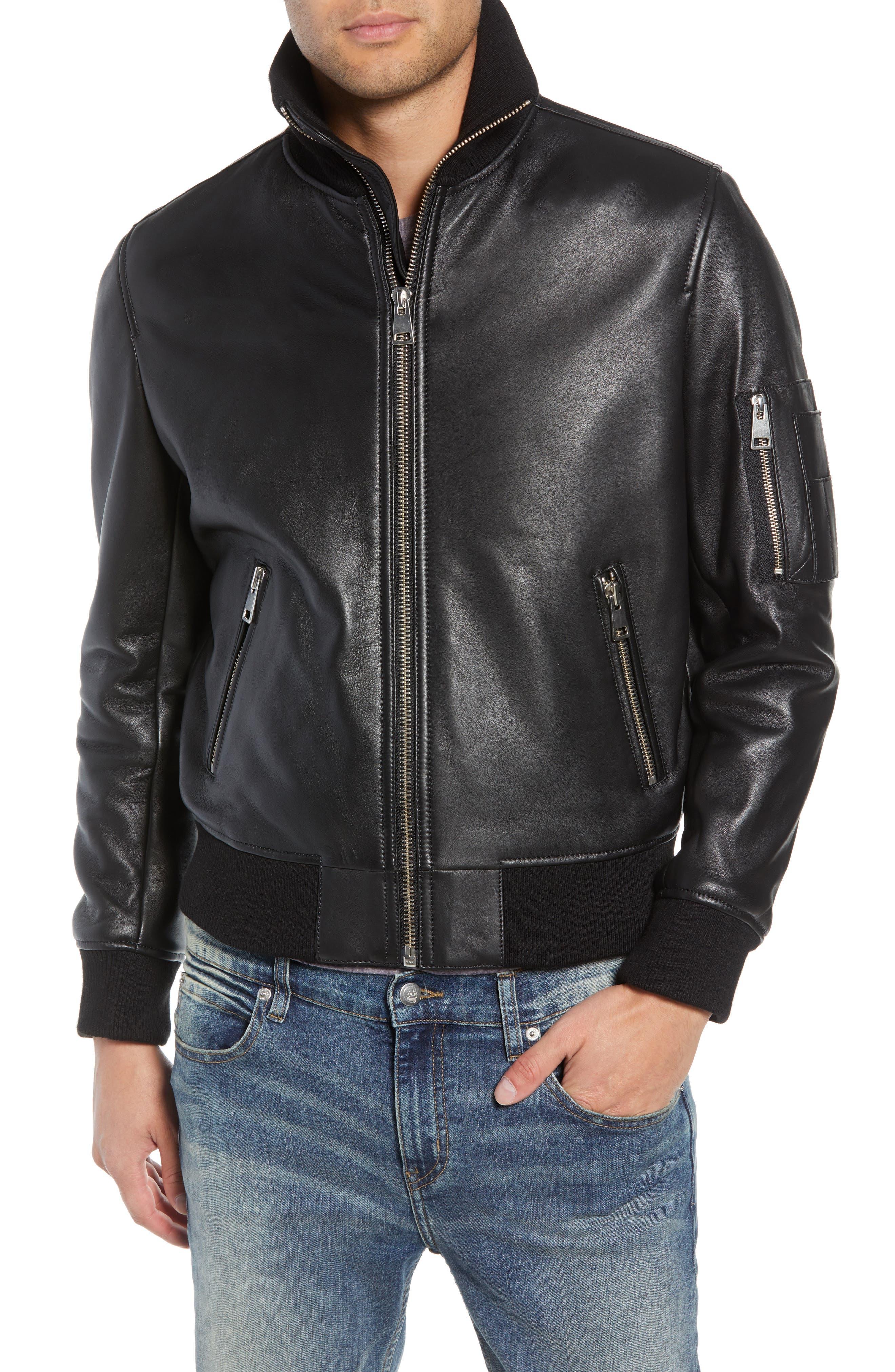 Regular Fit Leather Jacket,                             Alternate thumbnail 4, color,                             BLACK