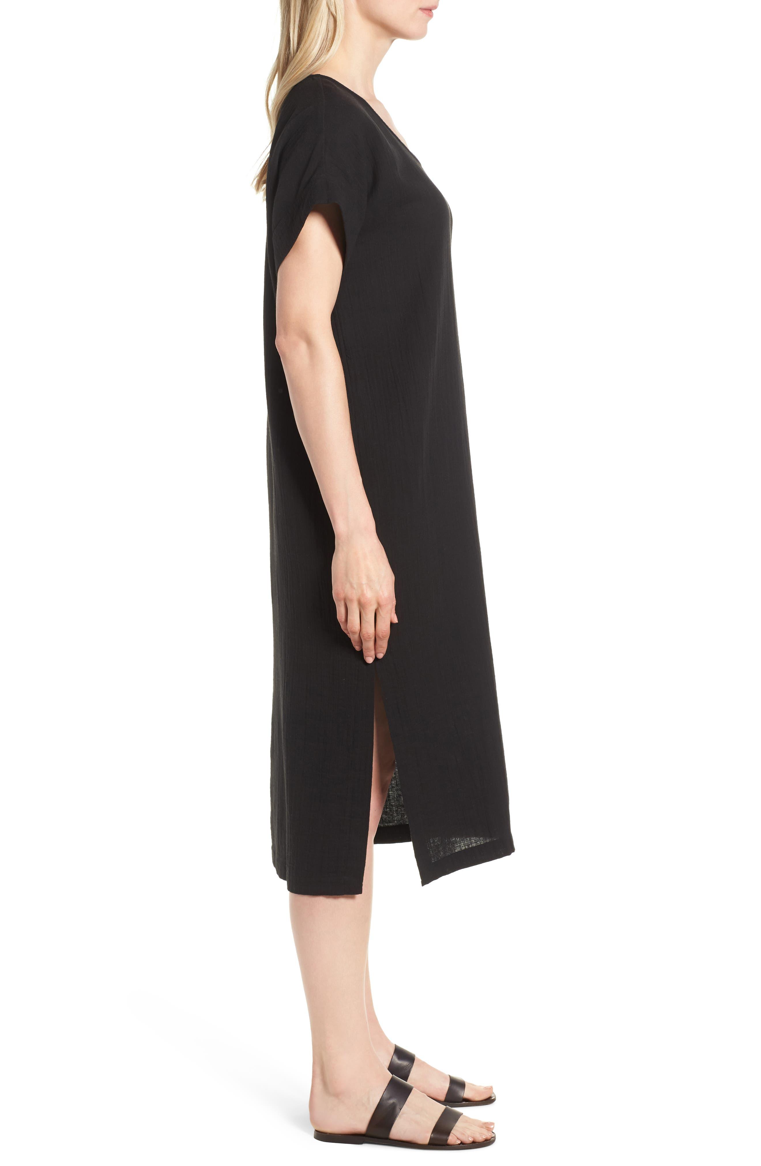 V-Neck Cotton Midi Dress,                             Alternate thumbnail 3, color,                             001