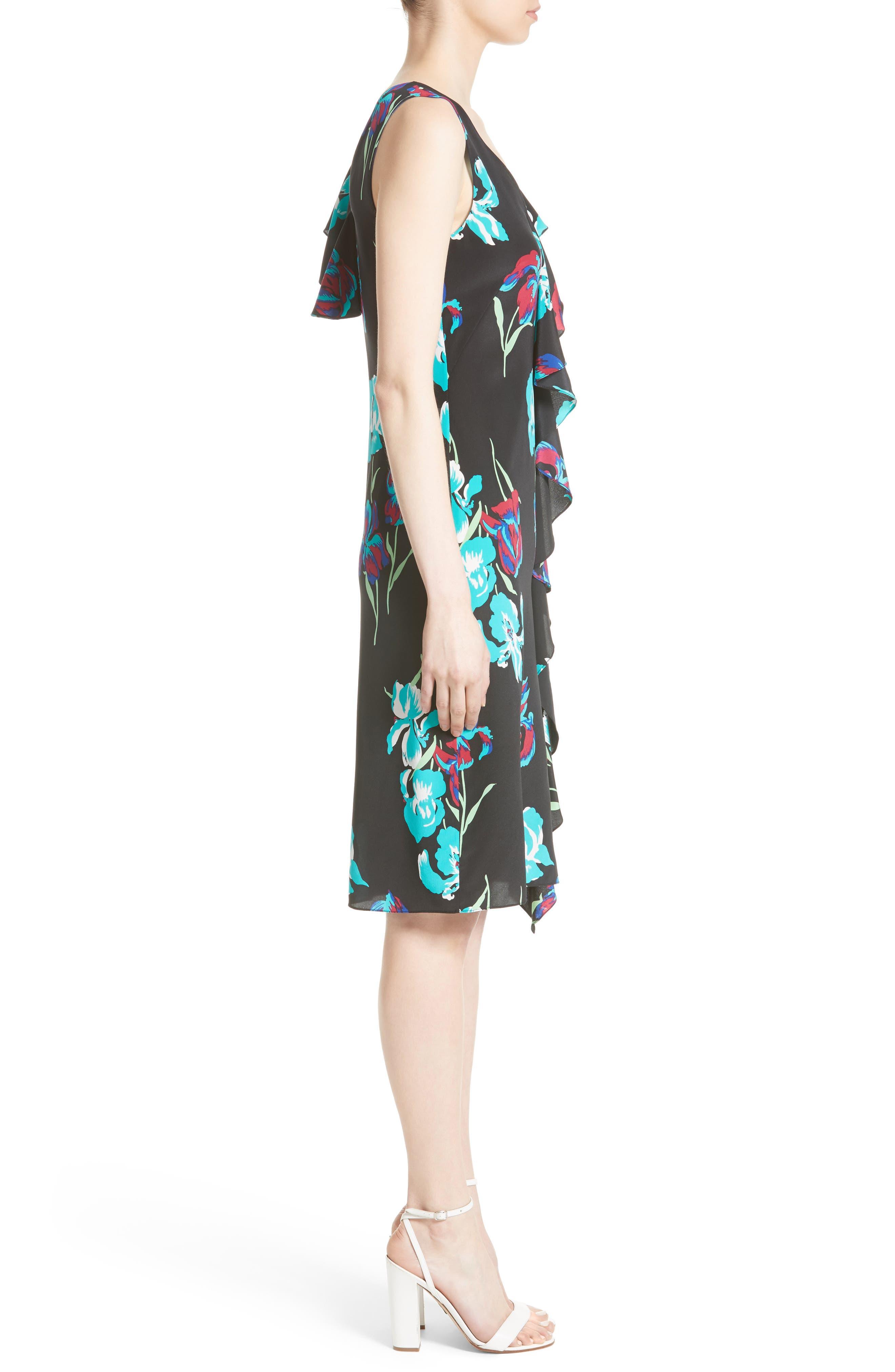 Silk Side Ruffle Sheath Dress,                             Alternate thumbnail 3, color,                             004