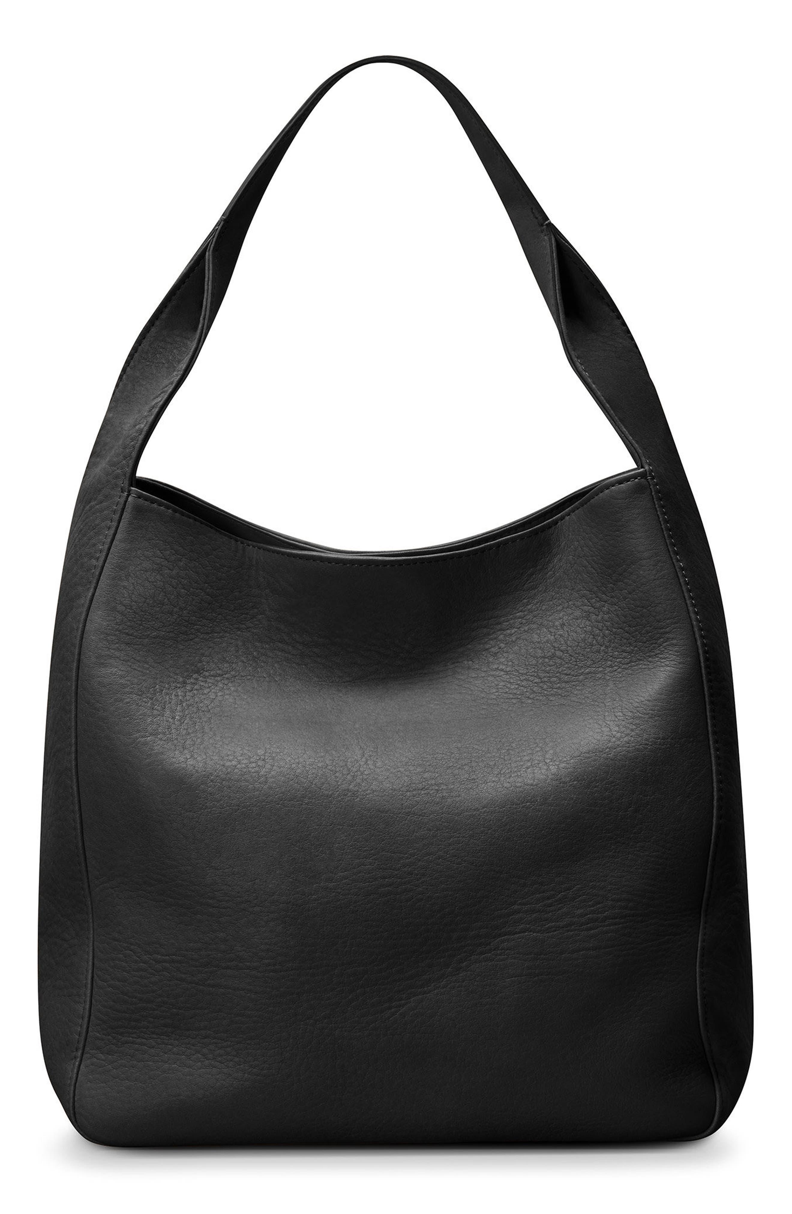 Cass Dearborn Leather Hobo,                             Alternate thumbnail 3, color,                             BLACK