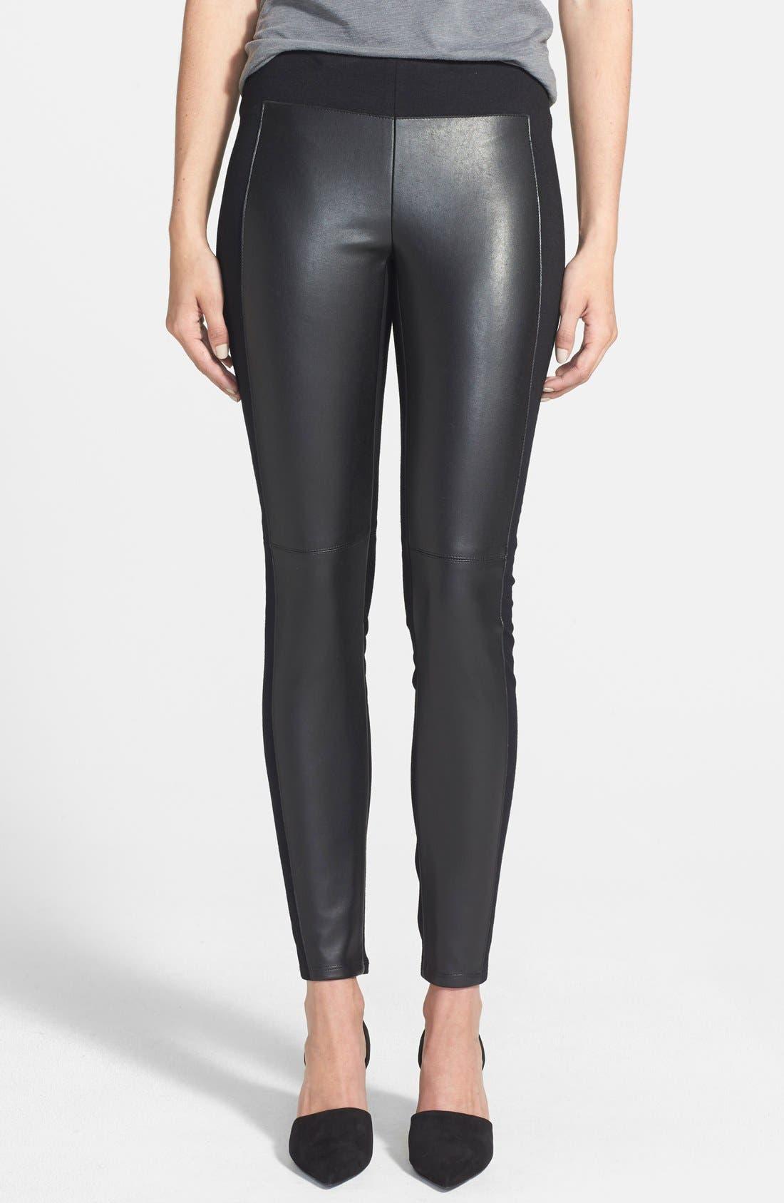 'Ski Pole' Faux Leather & Ponte Pants,                             Main thumbnail 1, color,                             001