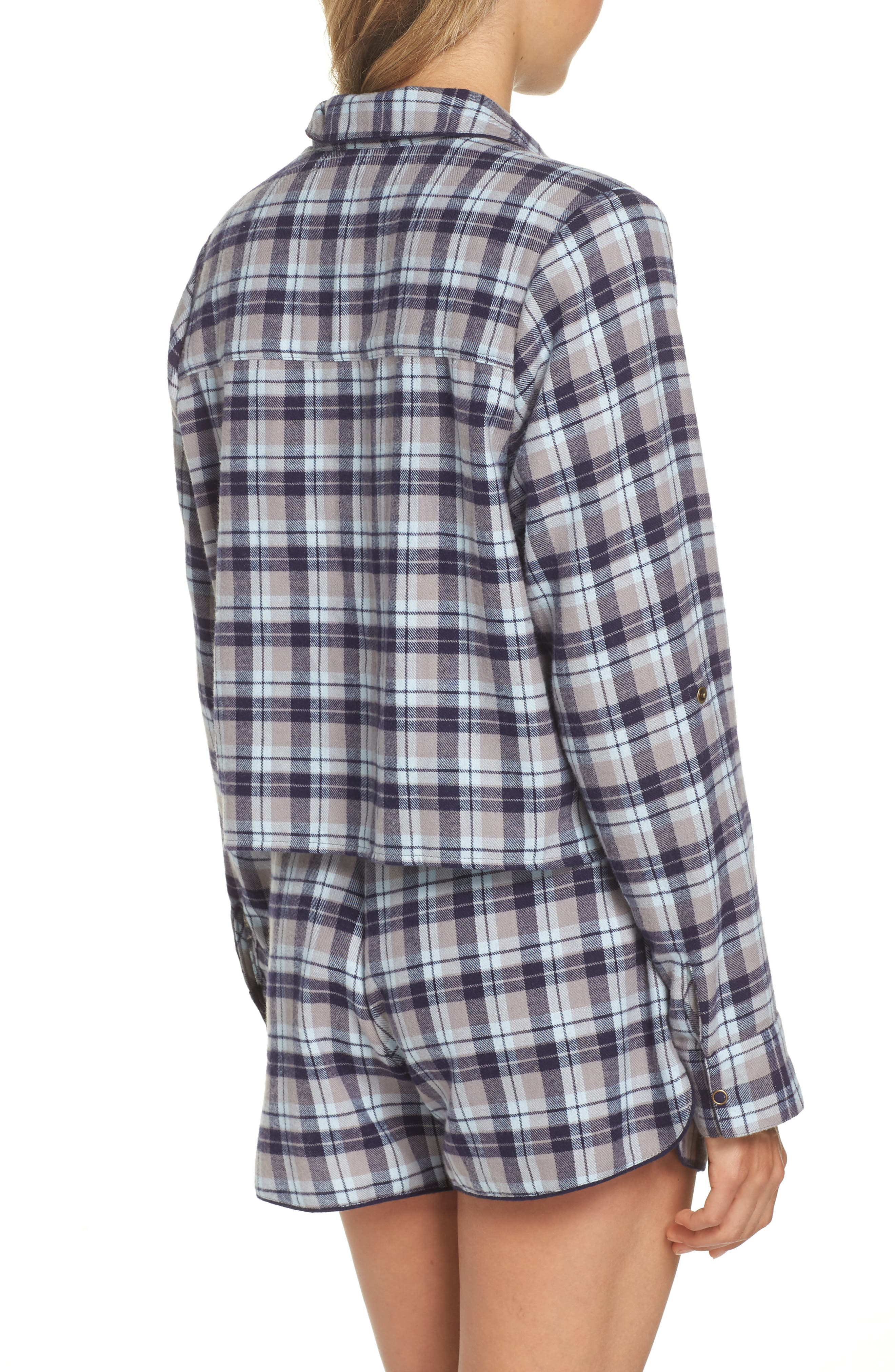 Crop Flannel Pajama Top,                             Alternate thumbnail 2, color,                             GREY FROST LUCY PLAID