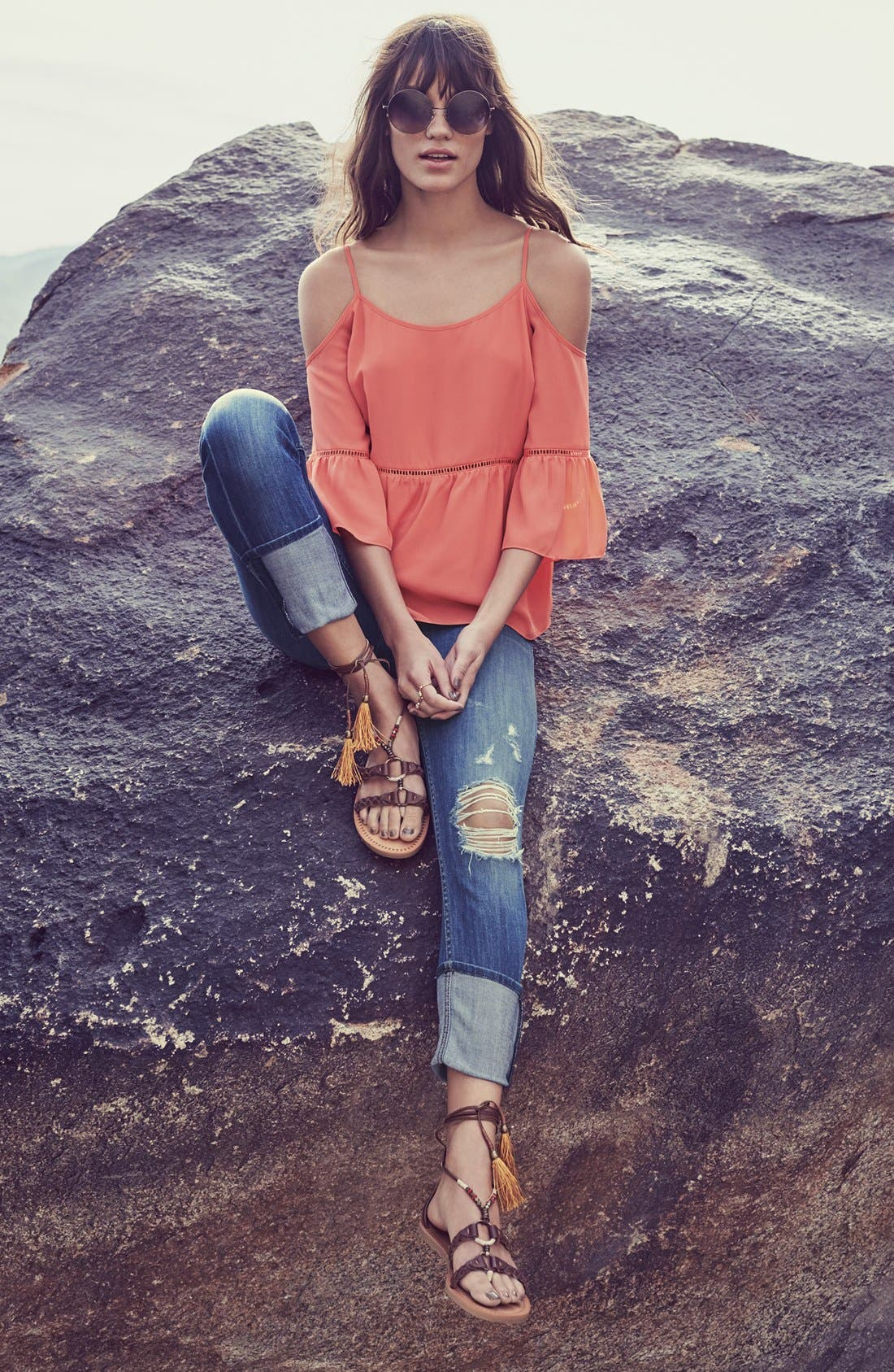 'Muse' Cuff Crop Jeans,                             Alternate thumbnail 7, color,                             INDIE