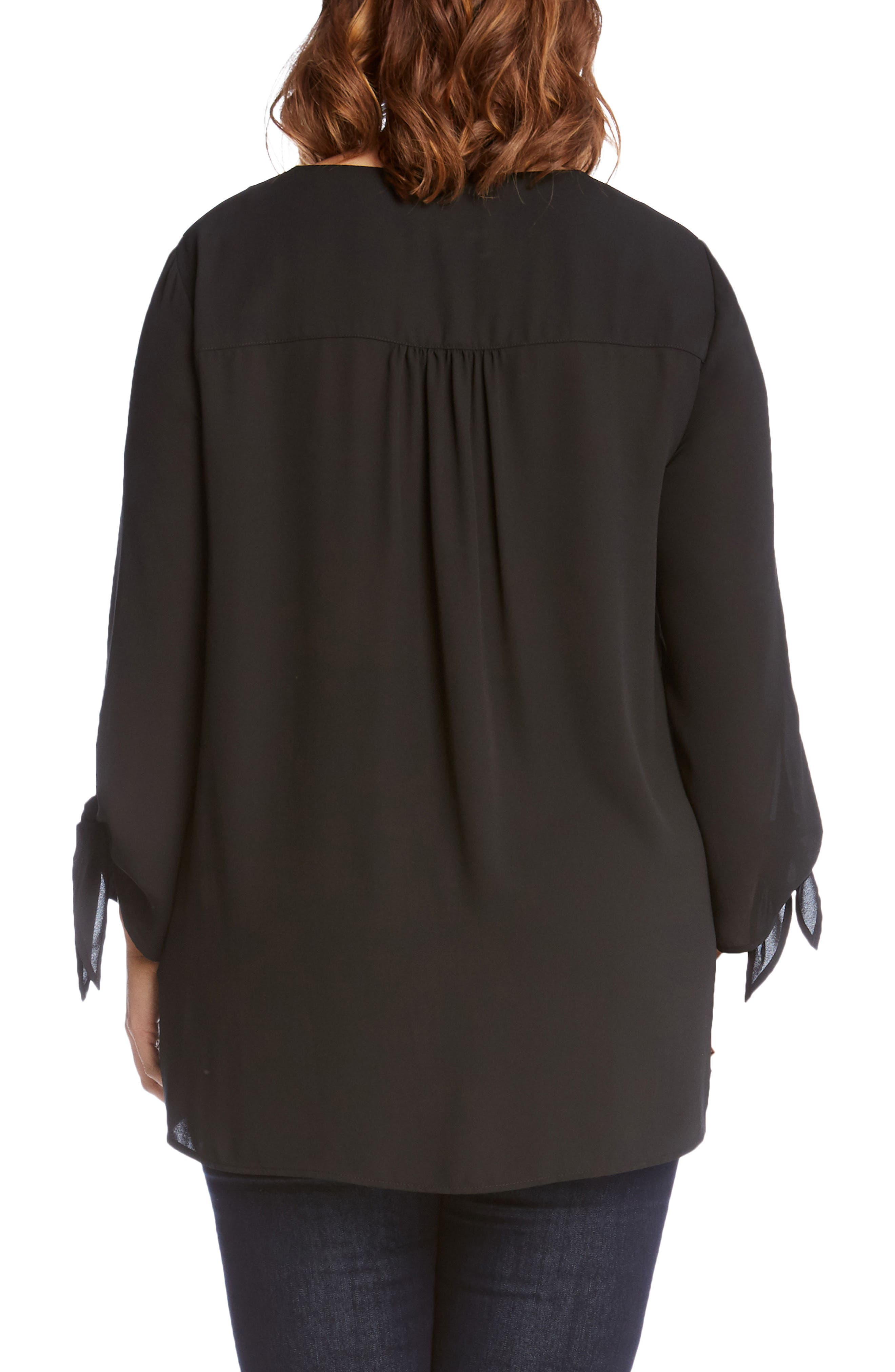 Crossover Tie Sleeve Top,                             Alternate thumbnail 2, color,                             001
