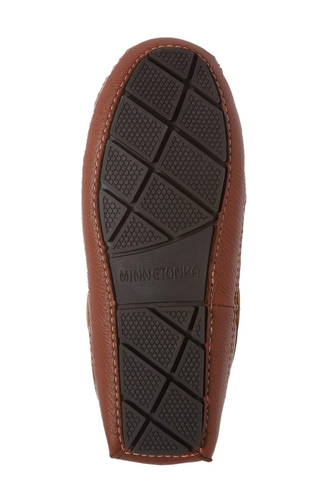 Genuine Shearling Lined Leather Slipper,                             Alternate thumbnail 4, color,                             CARMEL