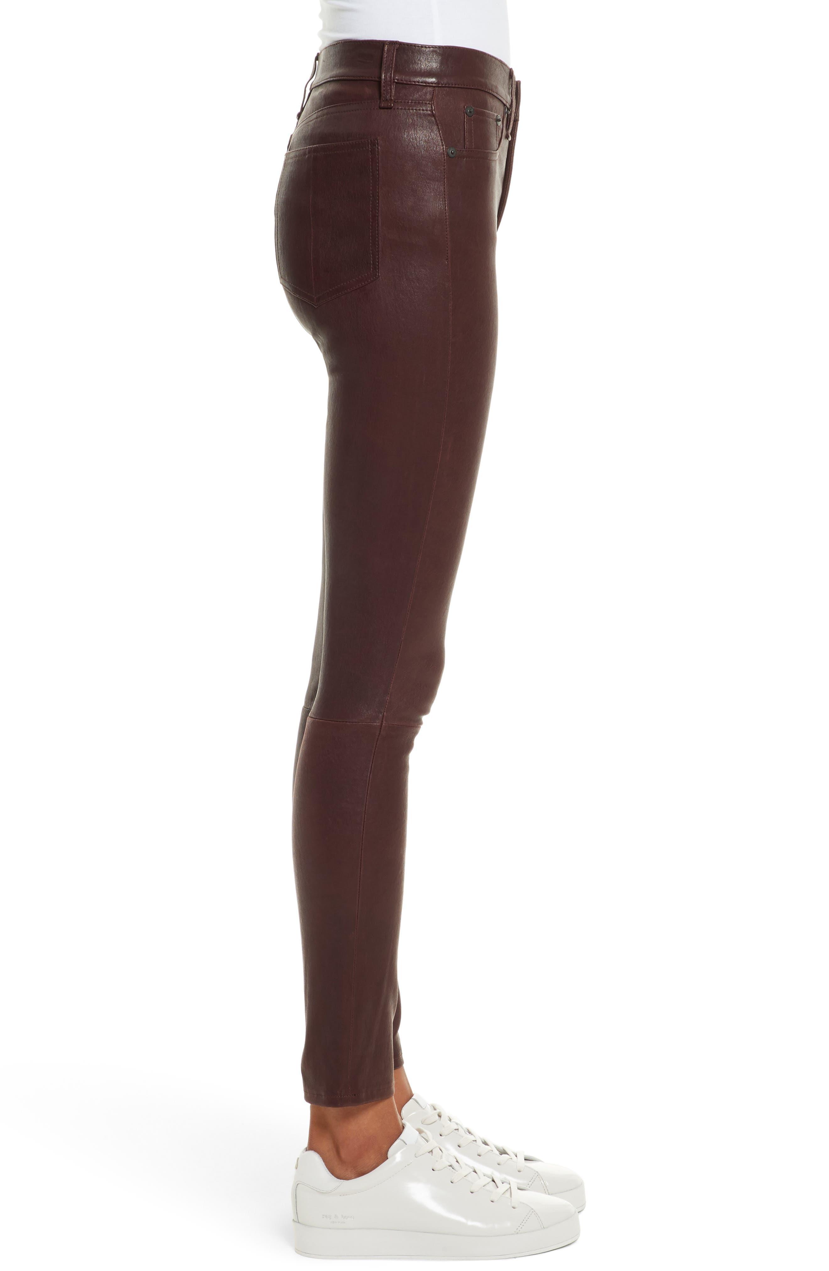 Lambskin Leather Pants,                             Alternate thumbnail 3, color,                             230