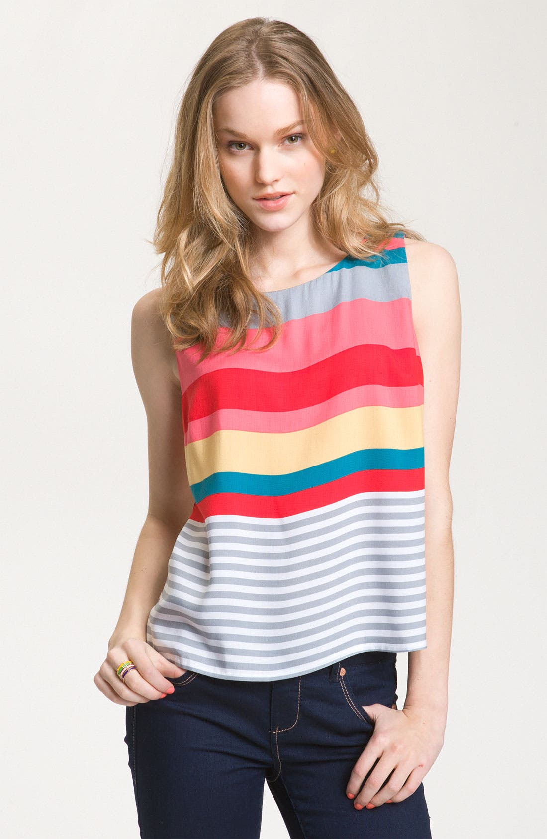 Bright Stripe Sleeveless Top,                             Main thumbnail 1, color,                             440