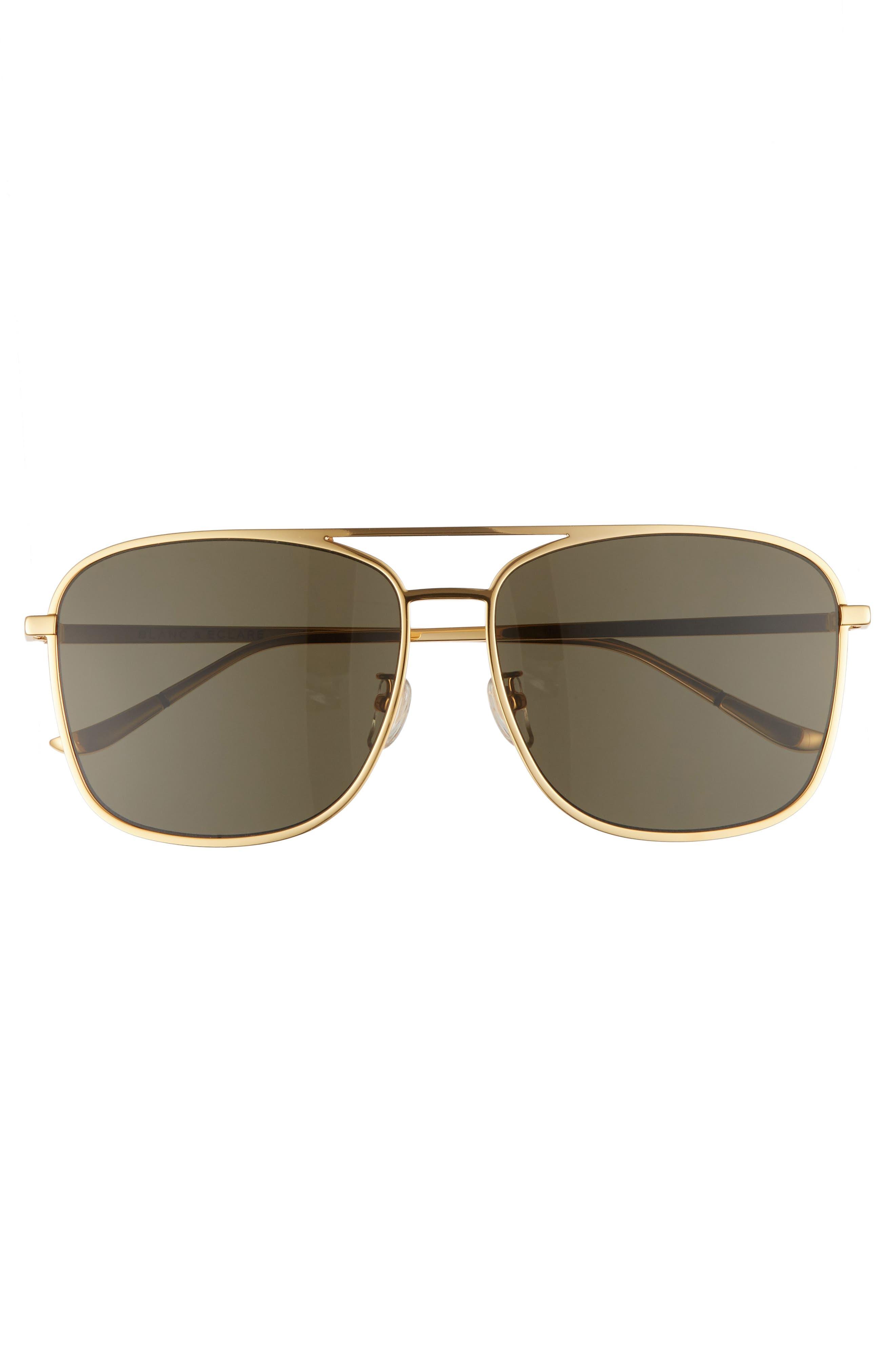 BLANC & ECLARE Geneva Large 60mm Polarized Metal Aviator Sunglasses,                             Alternate thumbnail 6, color,
