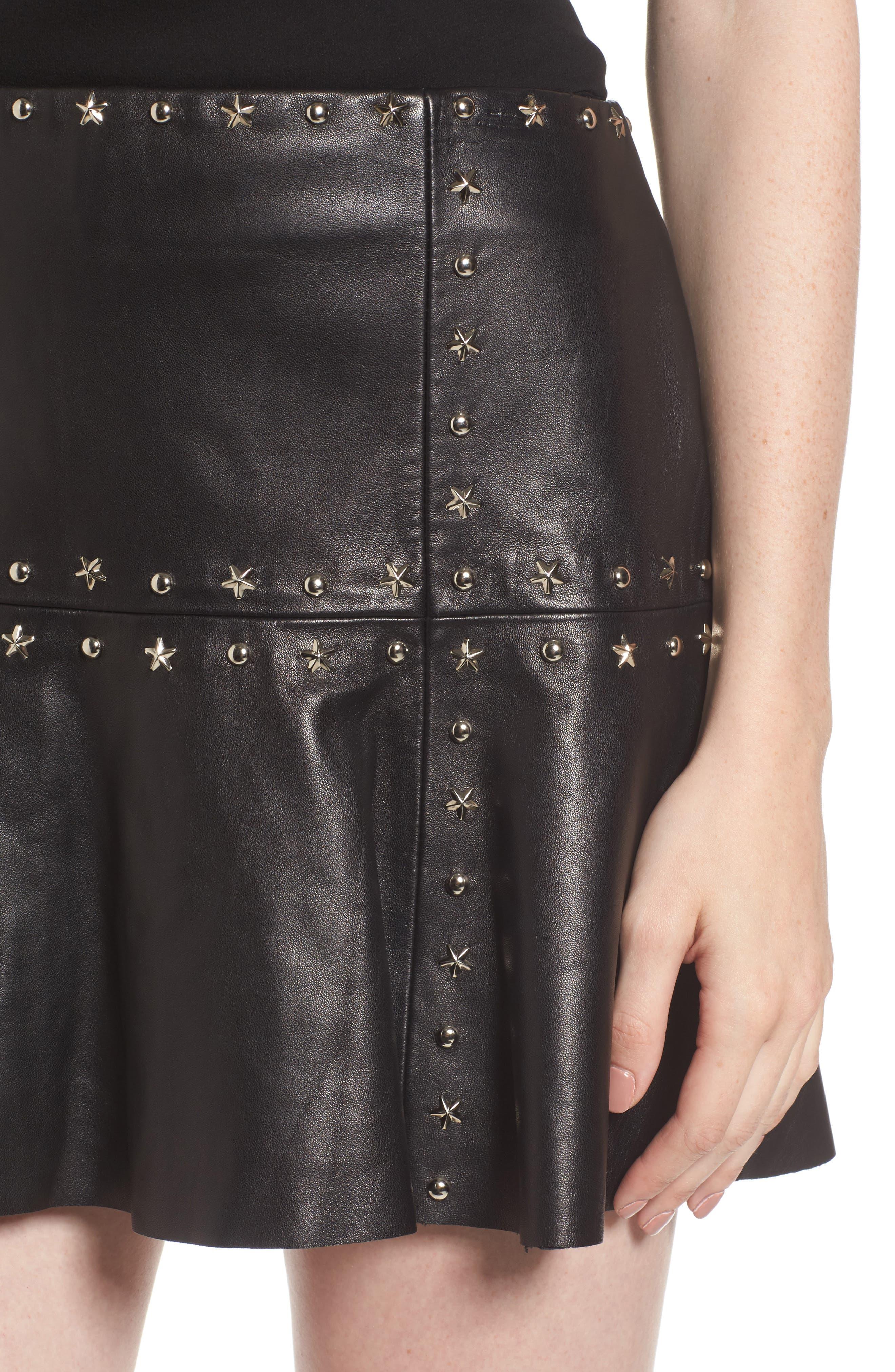 Grommet Suede Miniskirt,                             Alternate thumbnail 4, color,