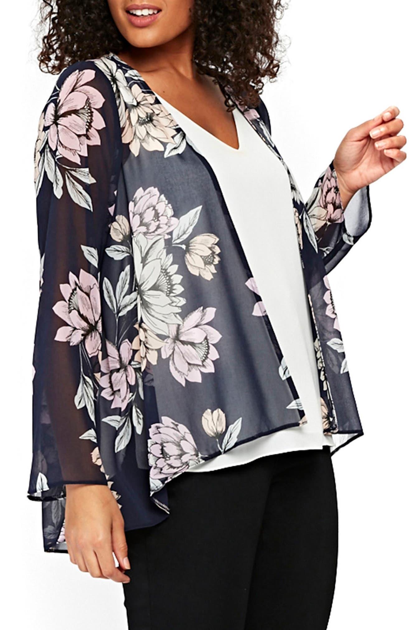 EVANS,                             Floral Kimono Jacket,                             Alternate thumbnail 3, color,                             435