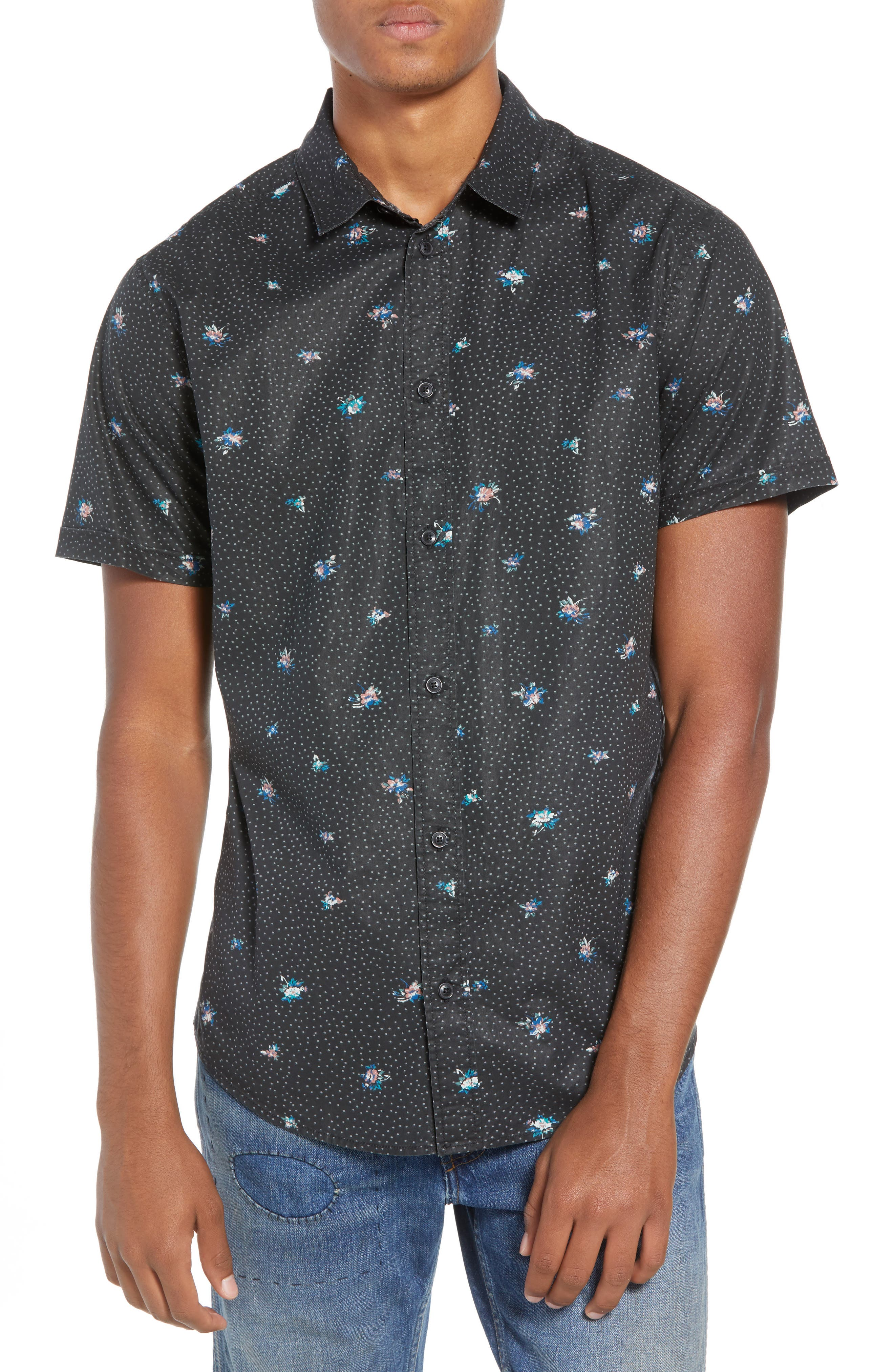 Scattered Print Woven Shirt,                             Main thumbnail 1, color,                             RVCA BLACK
