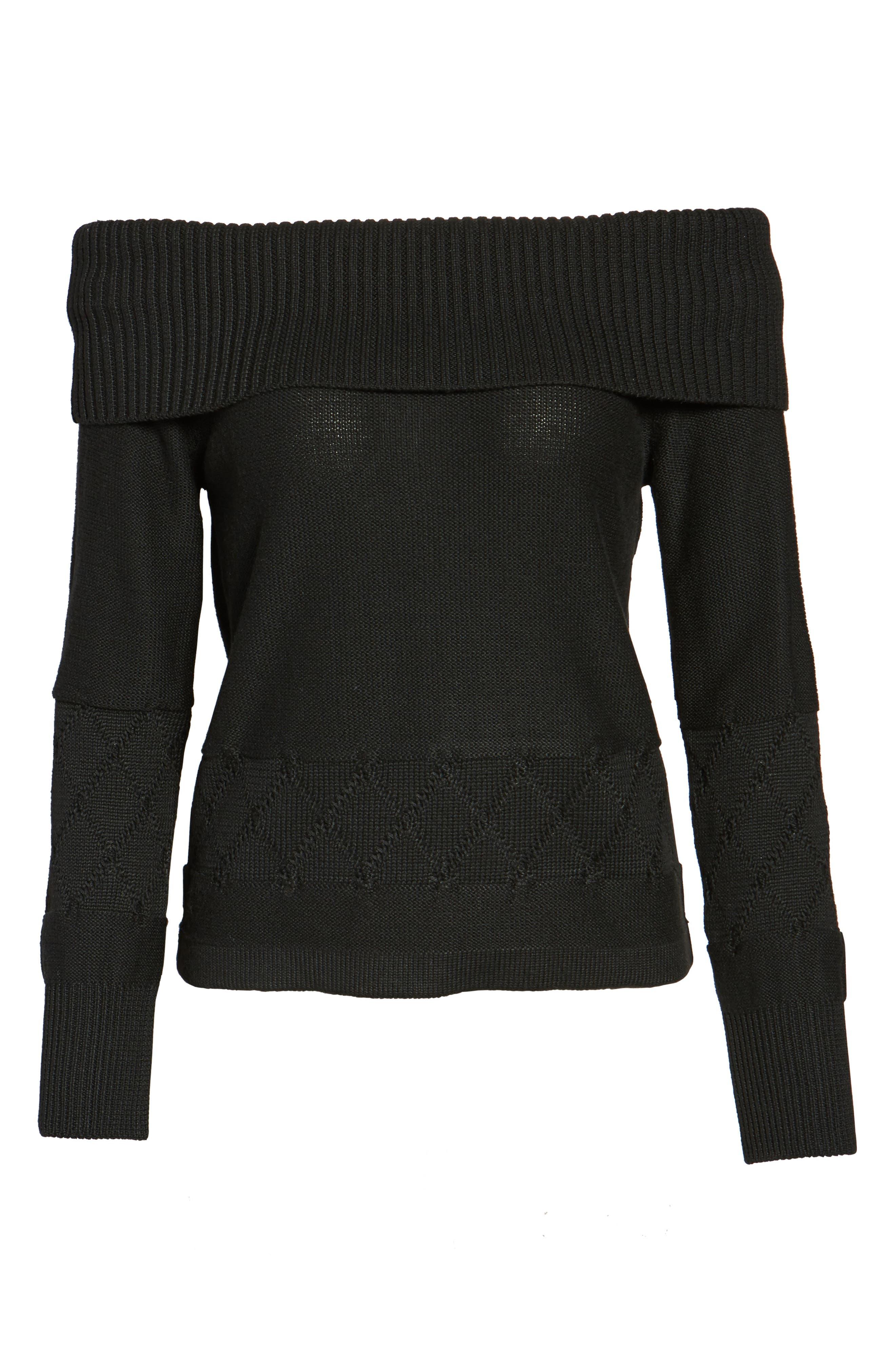 Terri Off the Shoulder Sweater,                             Alternate thumbnail 6, color,                             001
