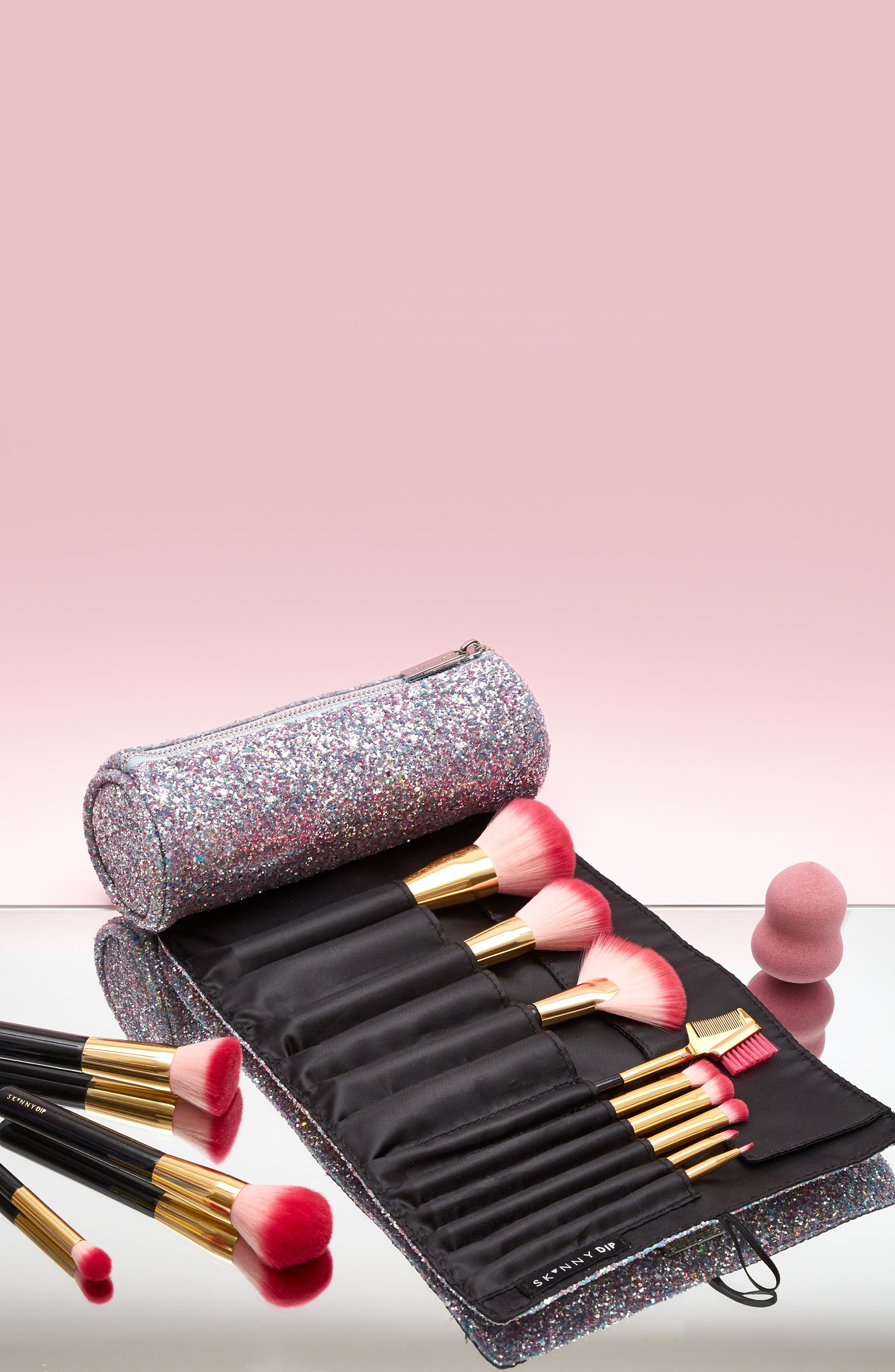 Skinny Dip Treasure Glitter Cosmetics Roll Bag,                             Alternate thumbnail 5, color,                             000