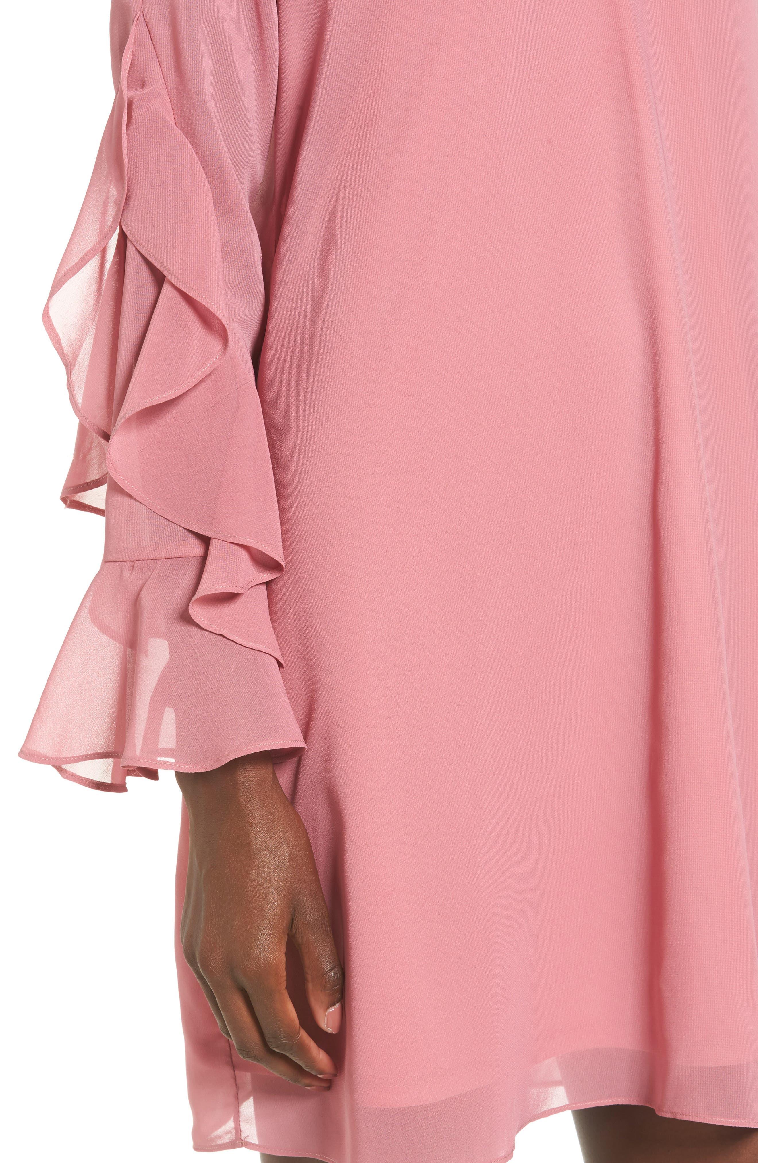 Ruffle Sleeve Shift Dress,                             Alternate thumbnail 15, color,