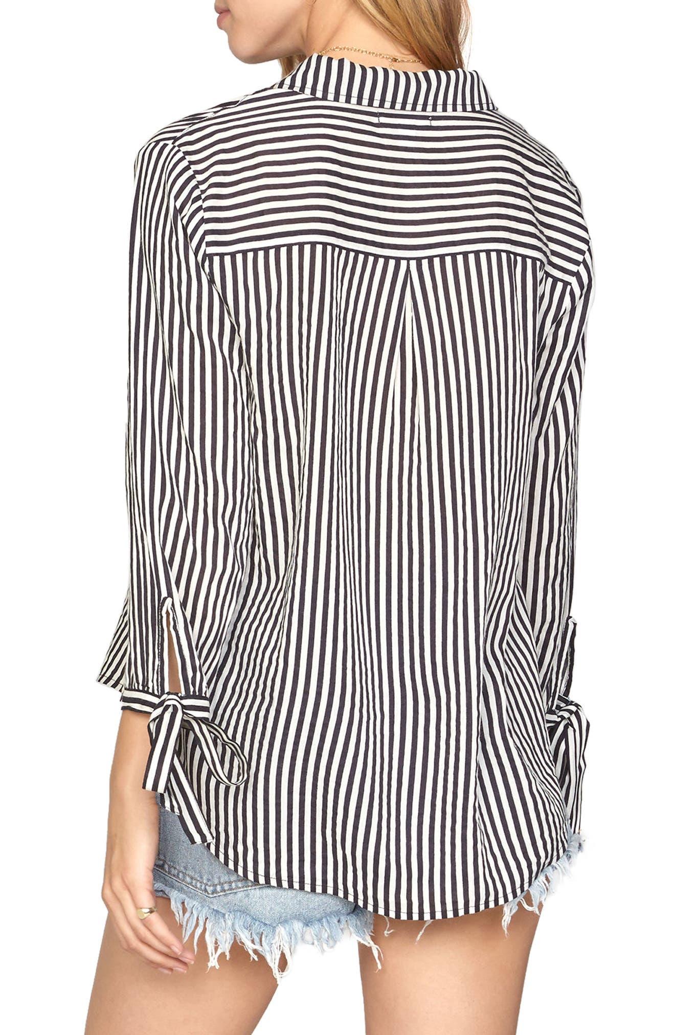 AMUSE SOCIETY,                             Stripe Tie Cuff Shirt,                             Alternate thumbnail 2, color,                             001