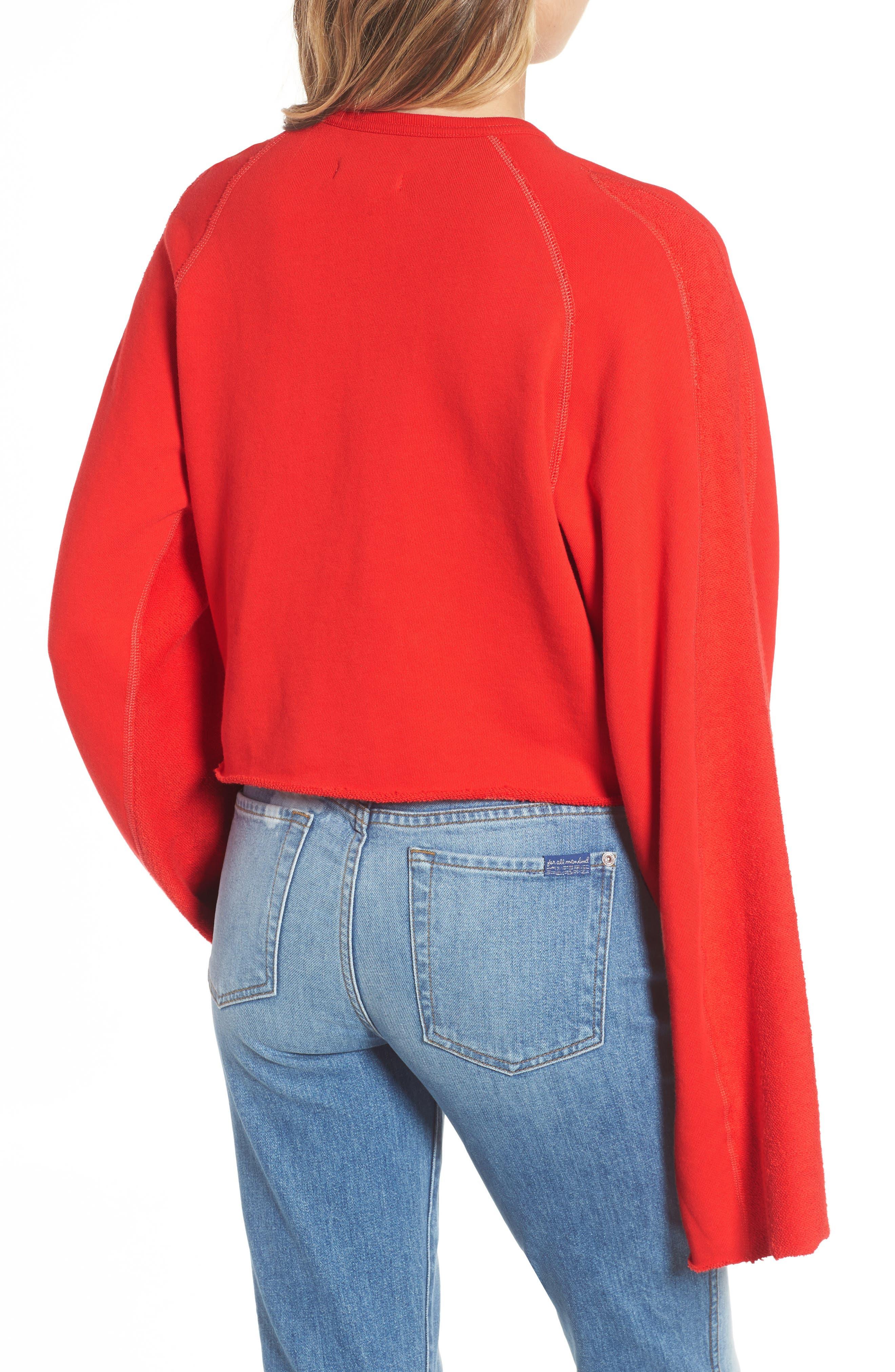 Flare Sleeve Crop Sweatshirt,                             Alternate thumbnail 2, color,