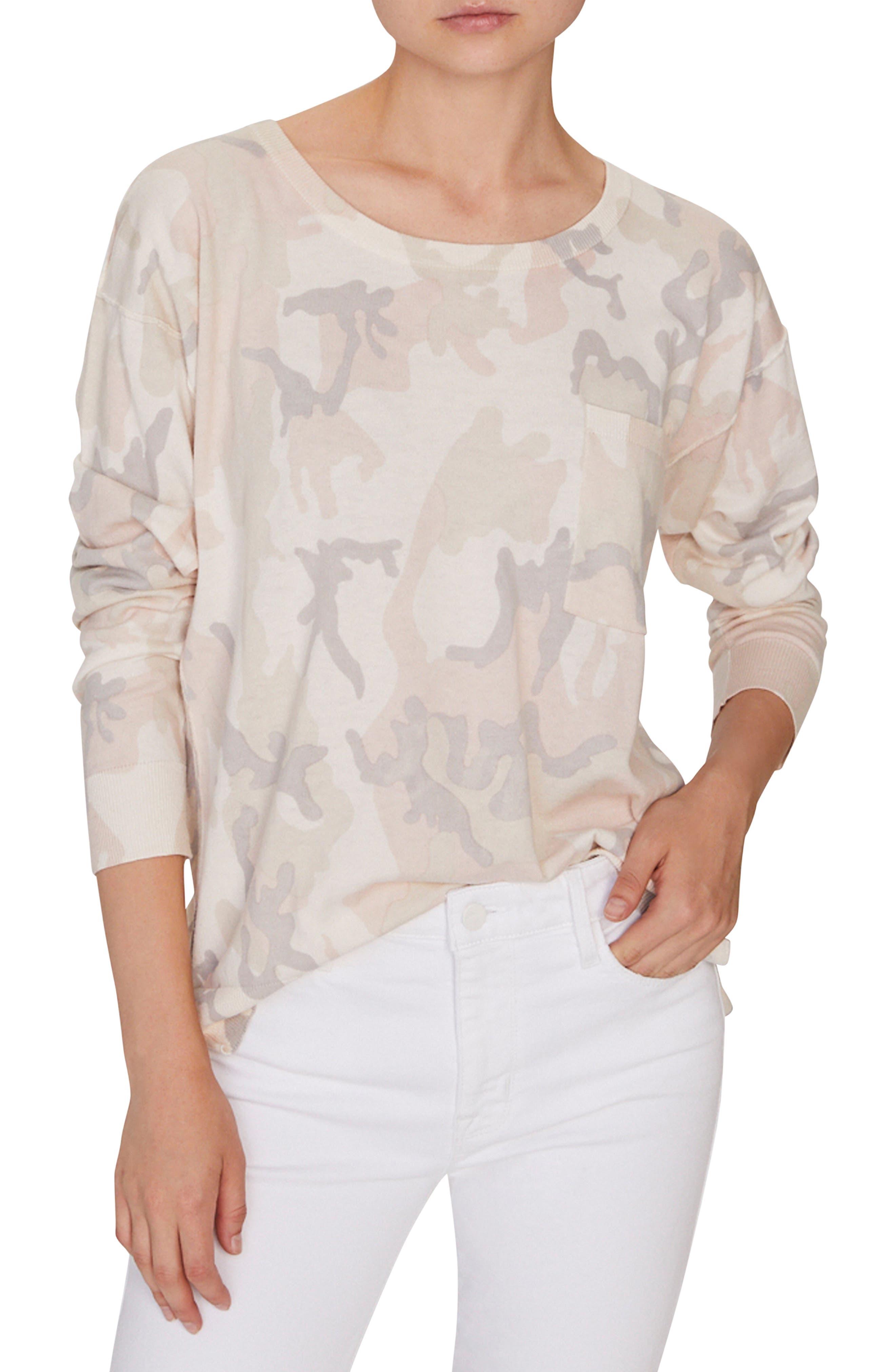 SANCTUARY,                             Pale Camo Cotton Blend Sweater,                             Main thumbnail 1, color,                             CHARM CAMO