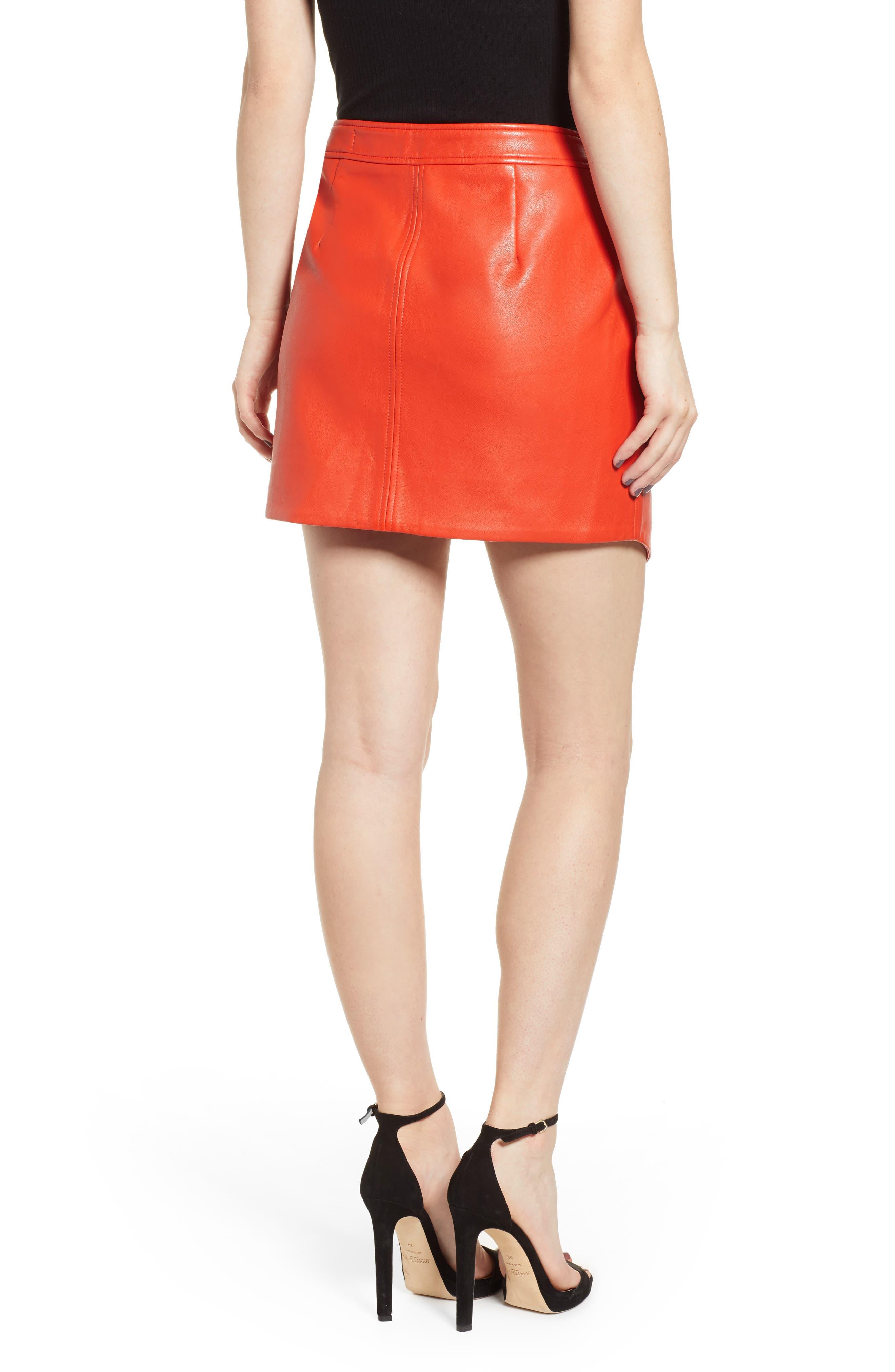 BLANKNYC,                             Asymmetrical Latch Detail Vegan Leather Miniskirt,                             Alternate thumbnail 2, color,                             SAFE WORD