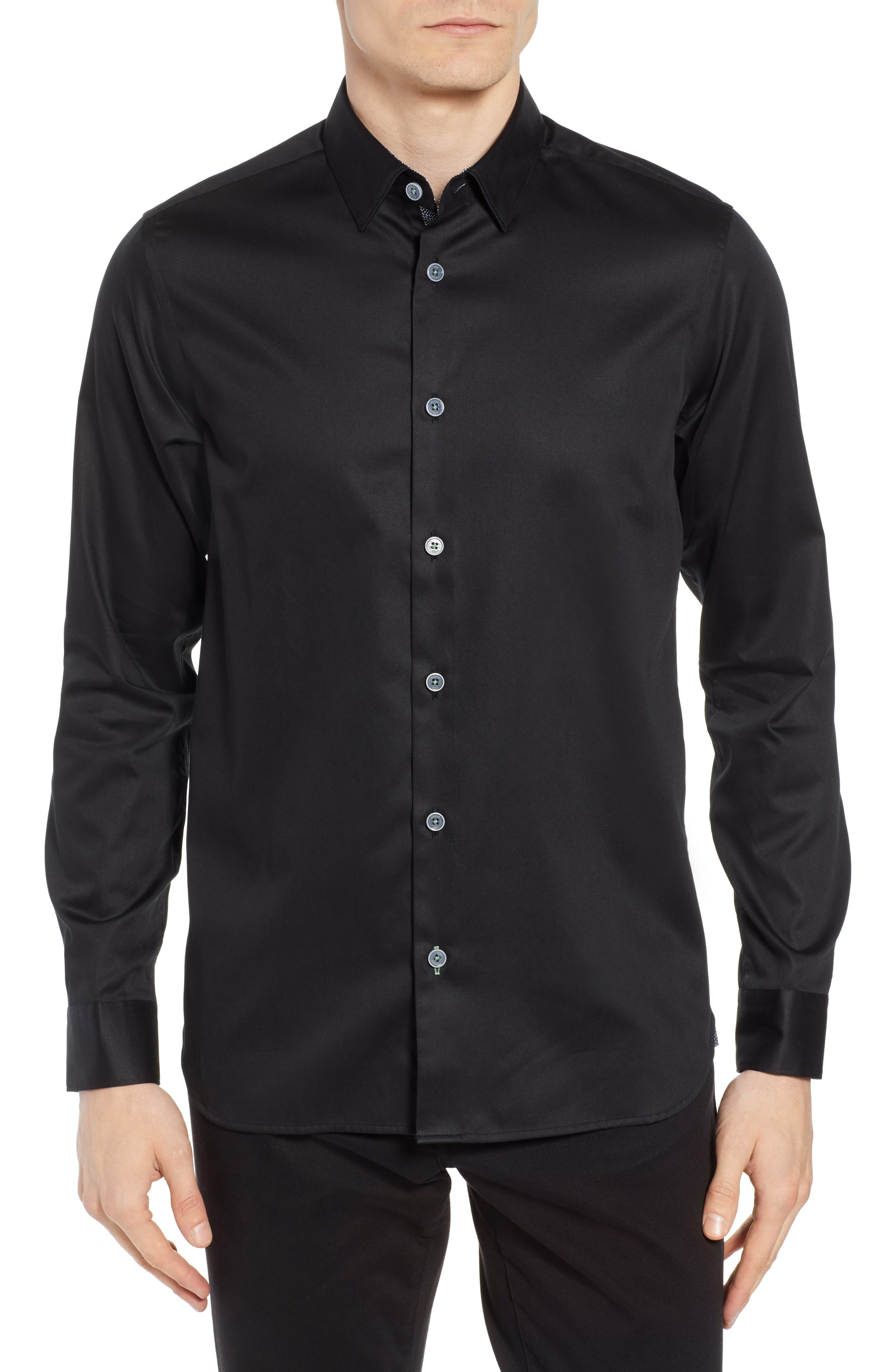 Crazee Slim Fit Stretch Sport Shirt,                         Main,                         color, BLACK