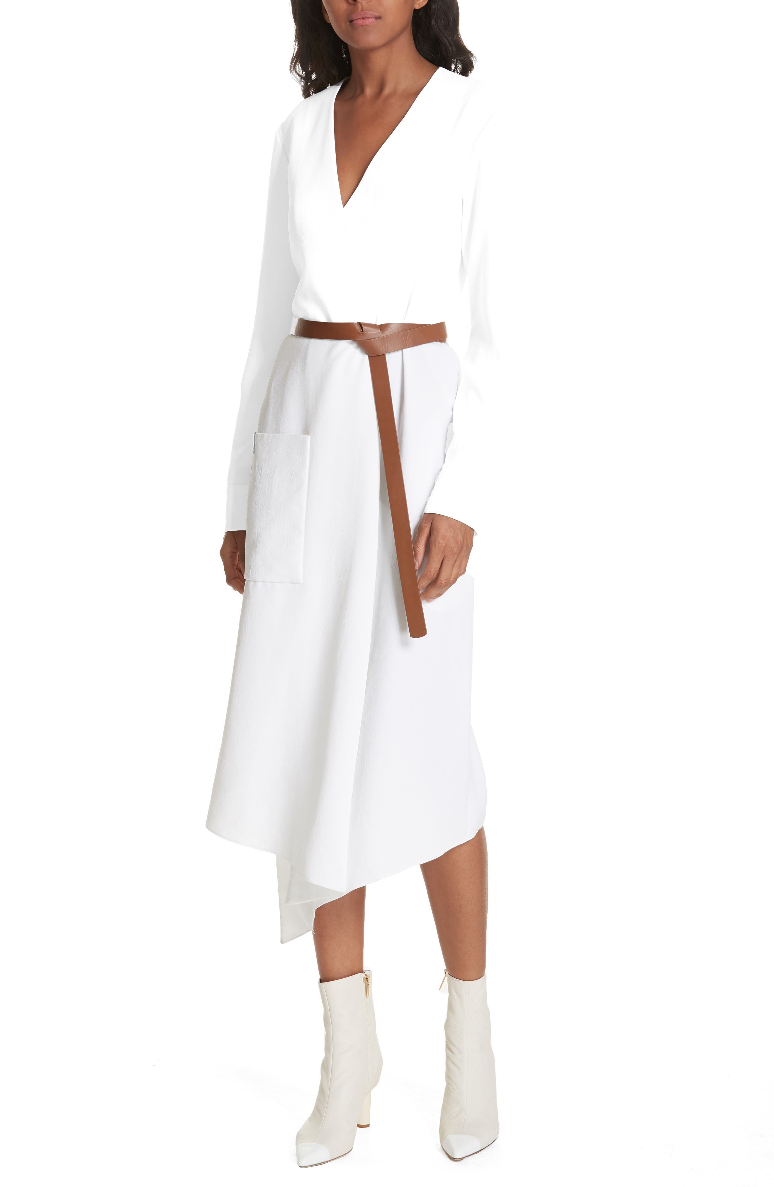 Tibi Drape Twill Midi Wrap Dress, White
