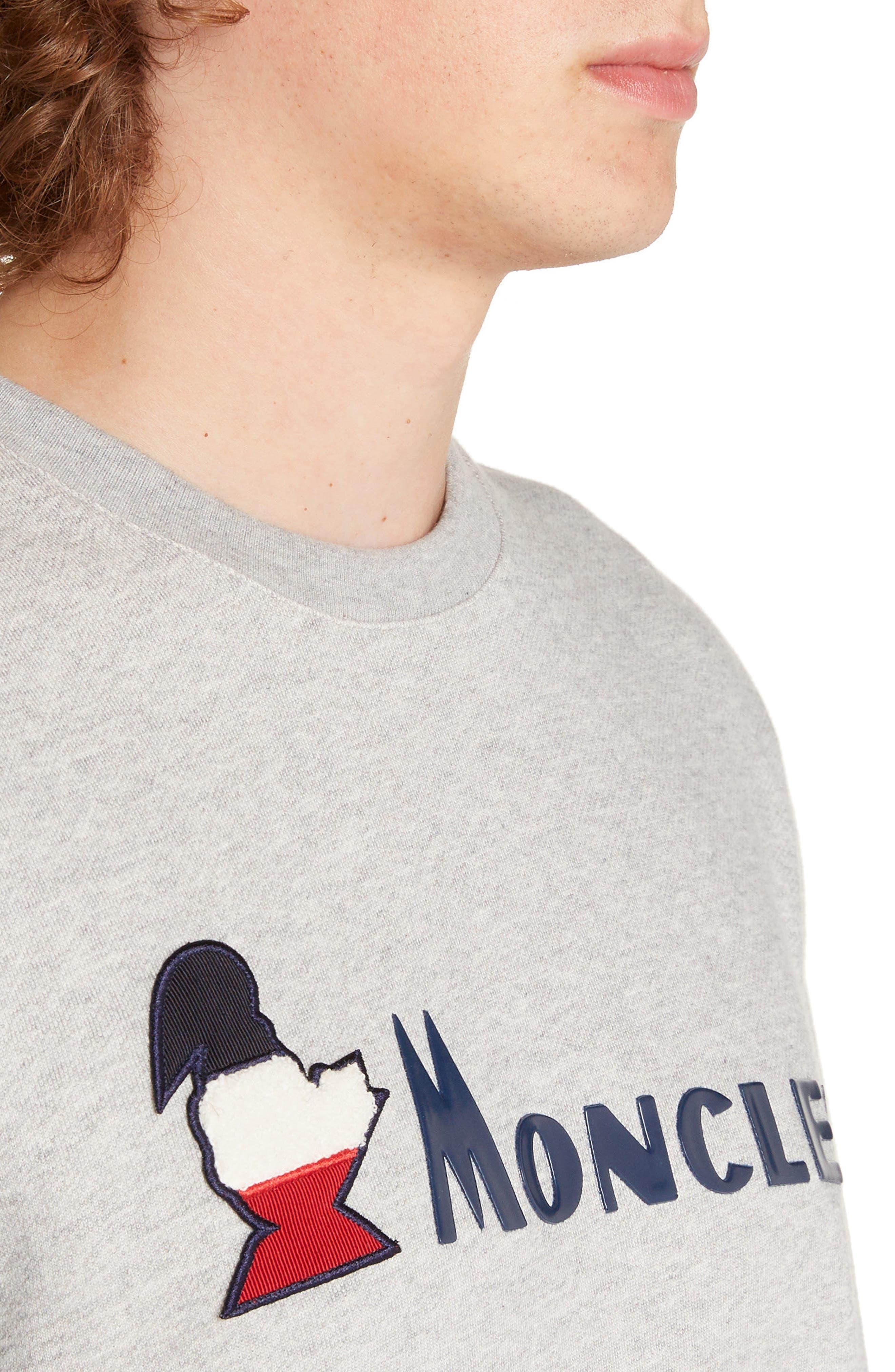 MONCLER,                             Logo Crewneck Sweatshirt,                             Alternate thumbnail 4, color,                             DARK GREY
