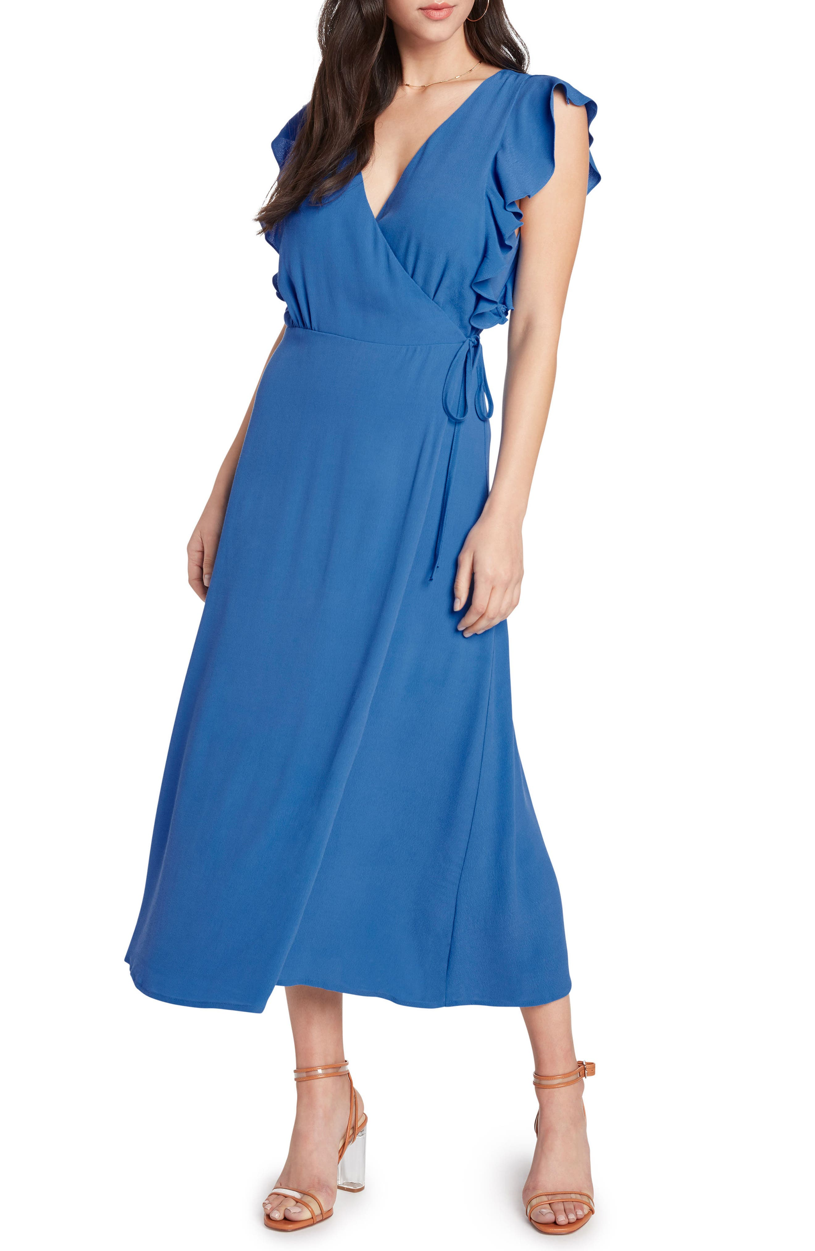 Solid Wrap Midi Dress,                             Main thumbnail 1, color,                             451