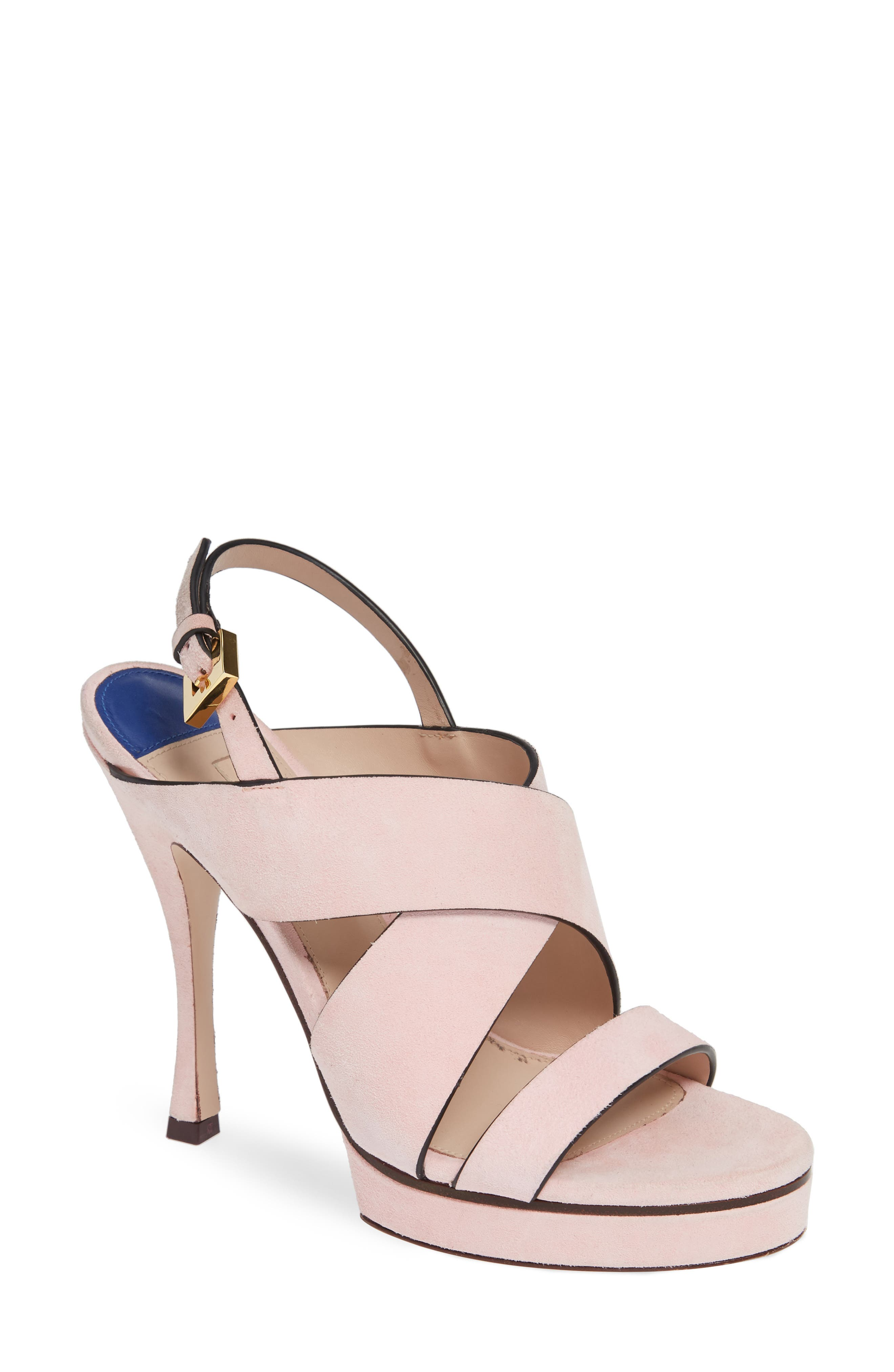 Stuart Weitzman Hester Cross Strap Sandal, Pink