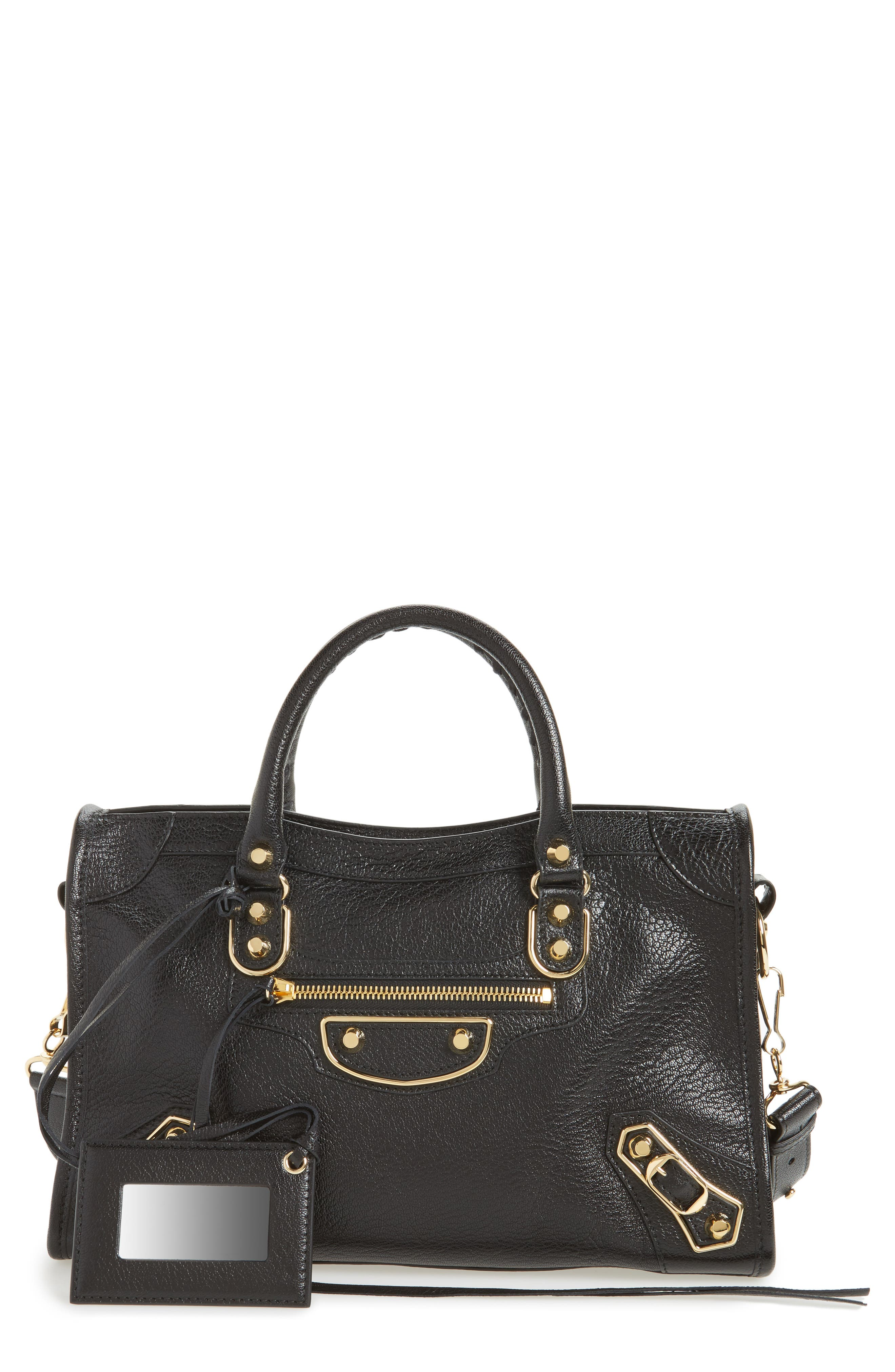Small Classic Metallic Edge City Leather Tote,                             Main thumbnail 1, color,                             NOIR