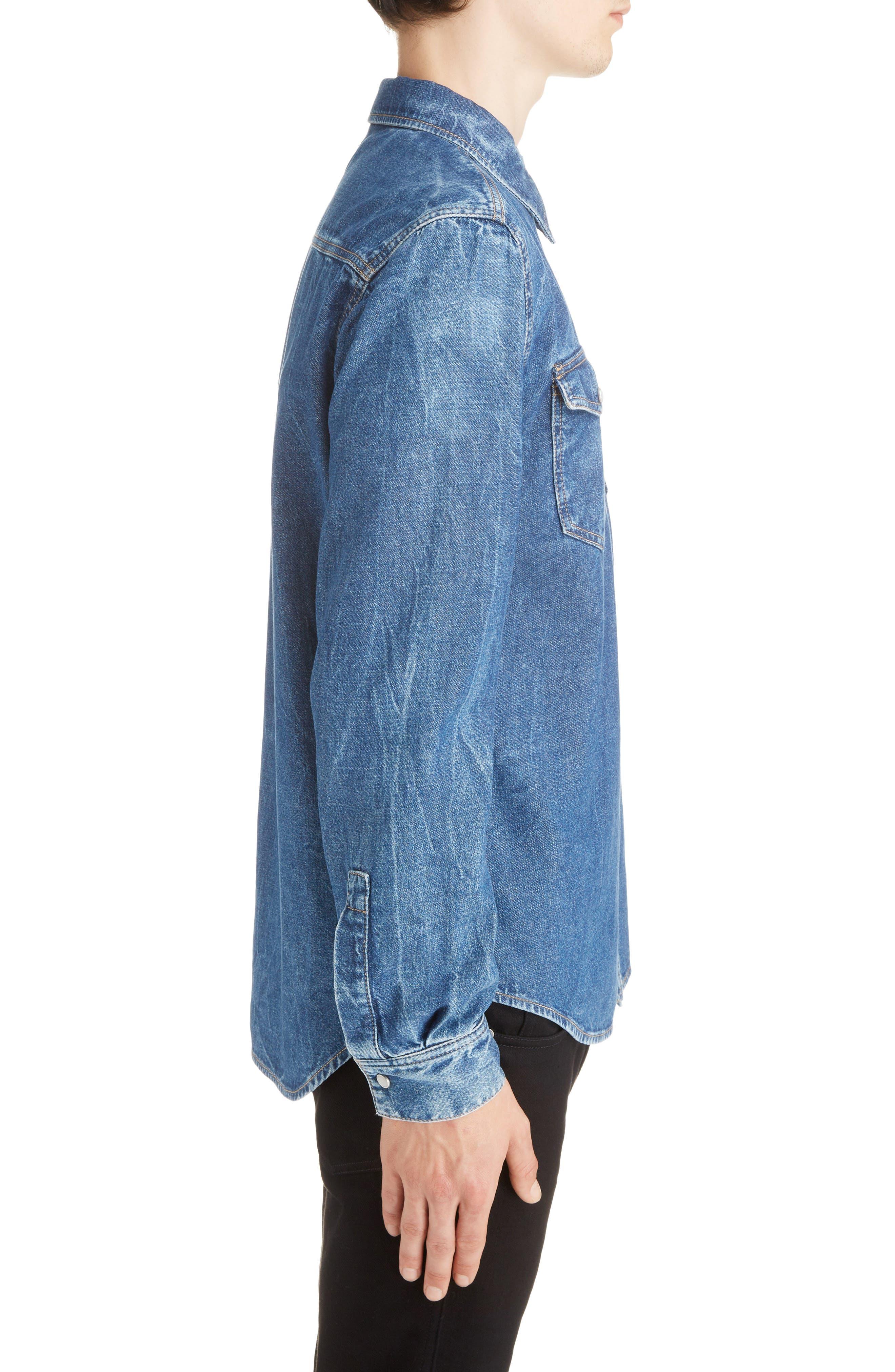 GIVENCHY,                             Denim Shirt,                             Alternate thumbnail 4, color,                             MEDIUM BLUE