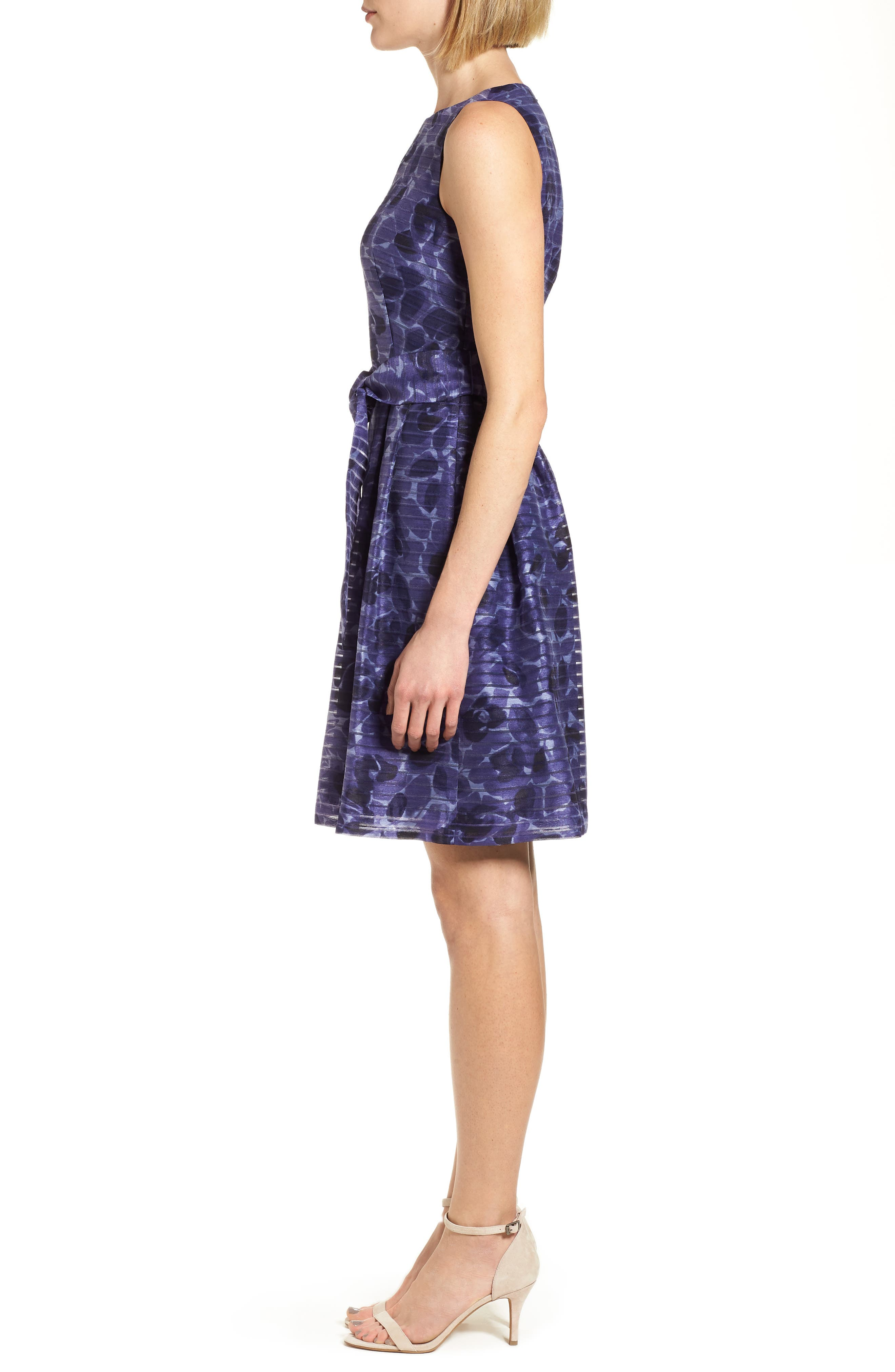 Rosewater Shadow Fit & Flare Dress,                             Alternate thumbnail 3, color,                             410