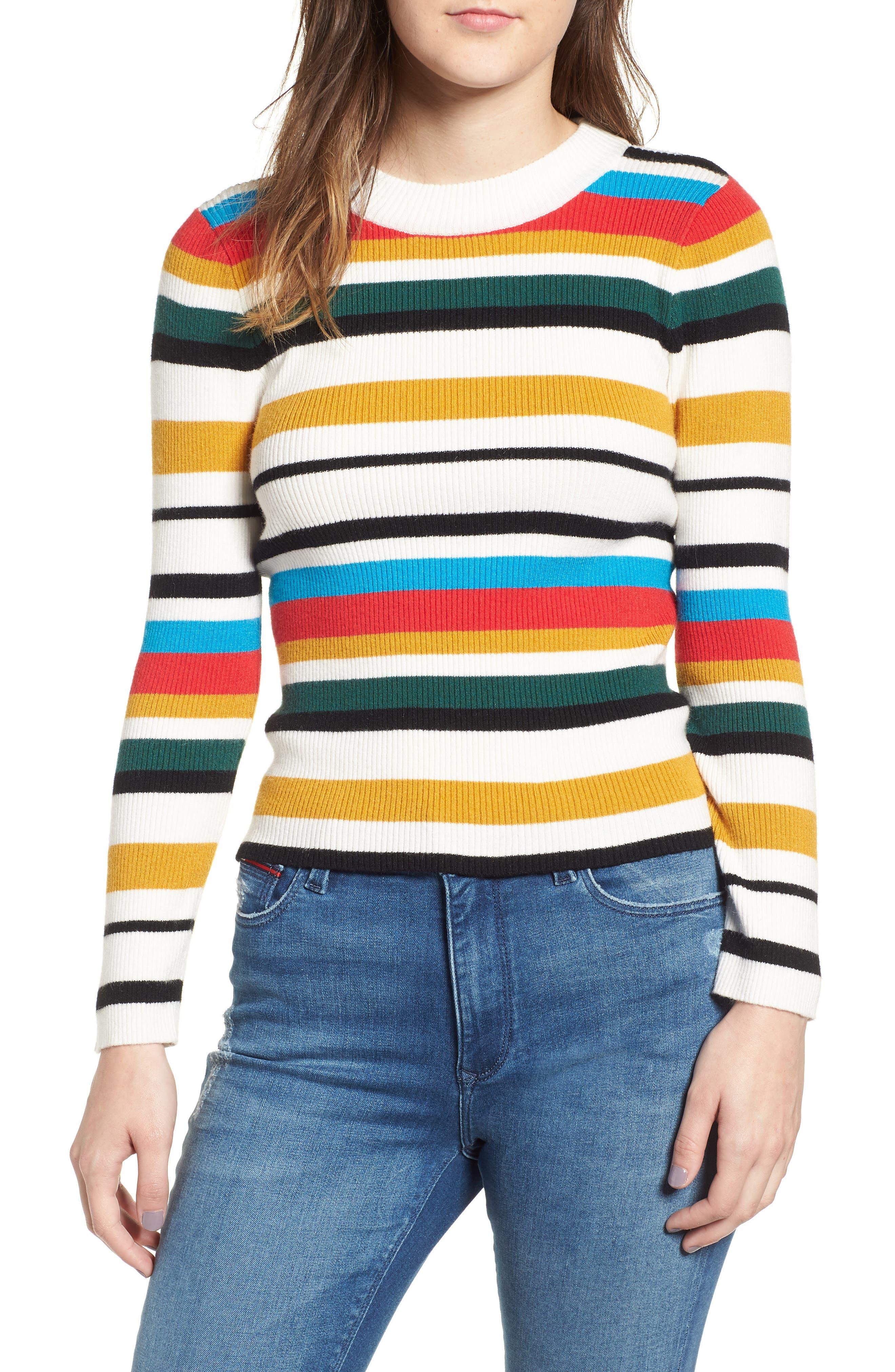 Stripe Rib Knit Sweater, Main, color, 100