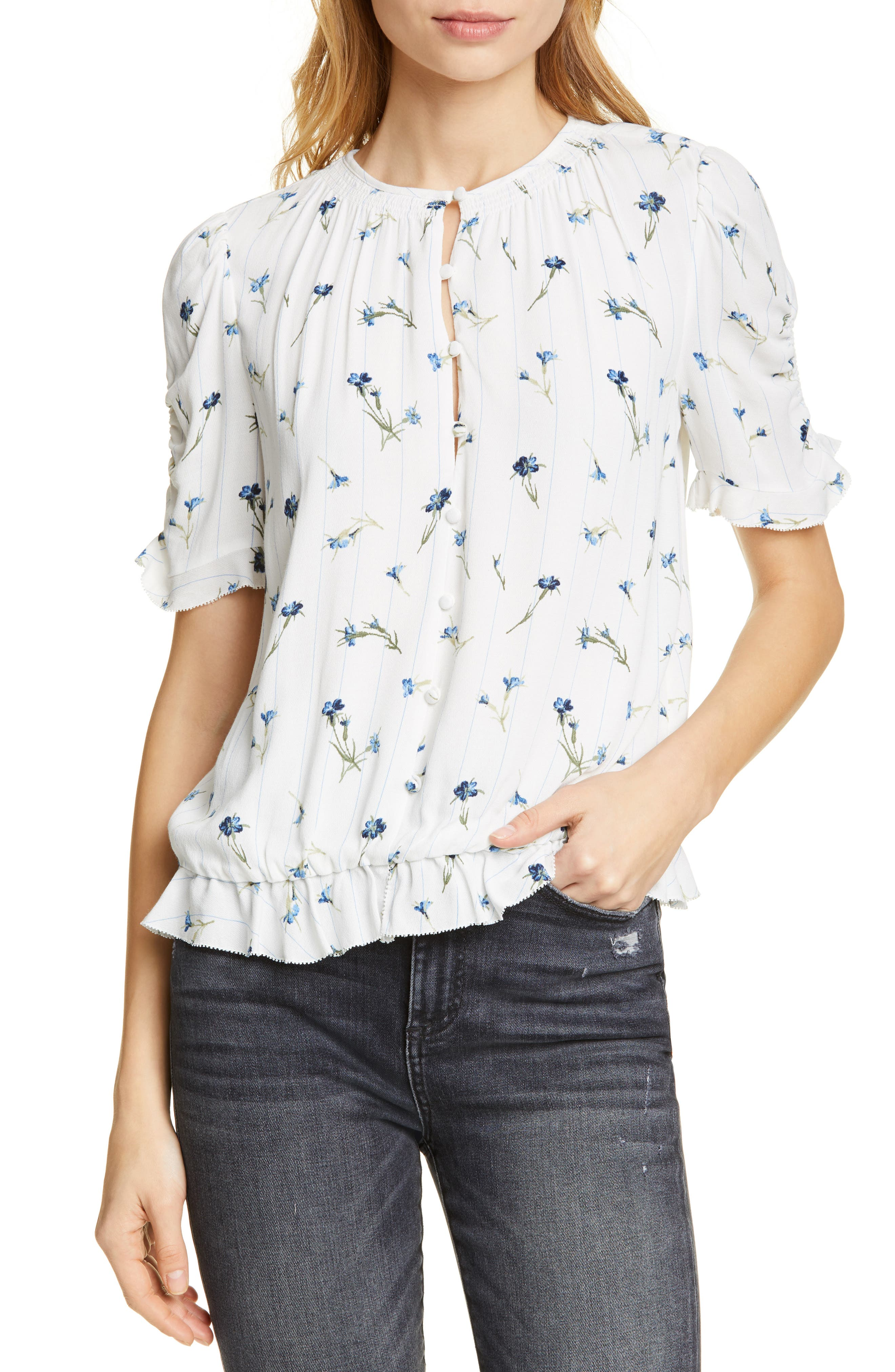 Joie Blouses VONNY FLORAL RUCHED SLEEVE BLOUSE