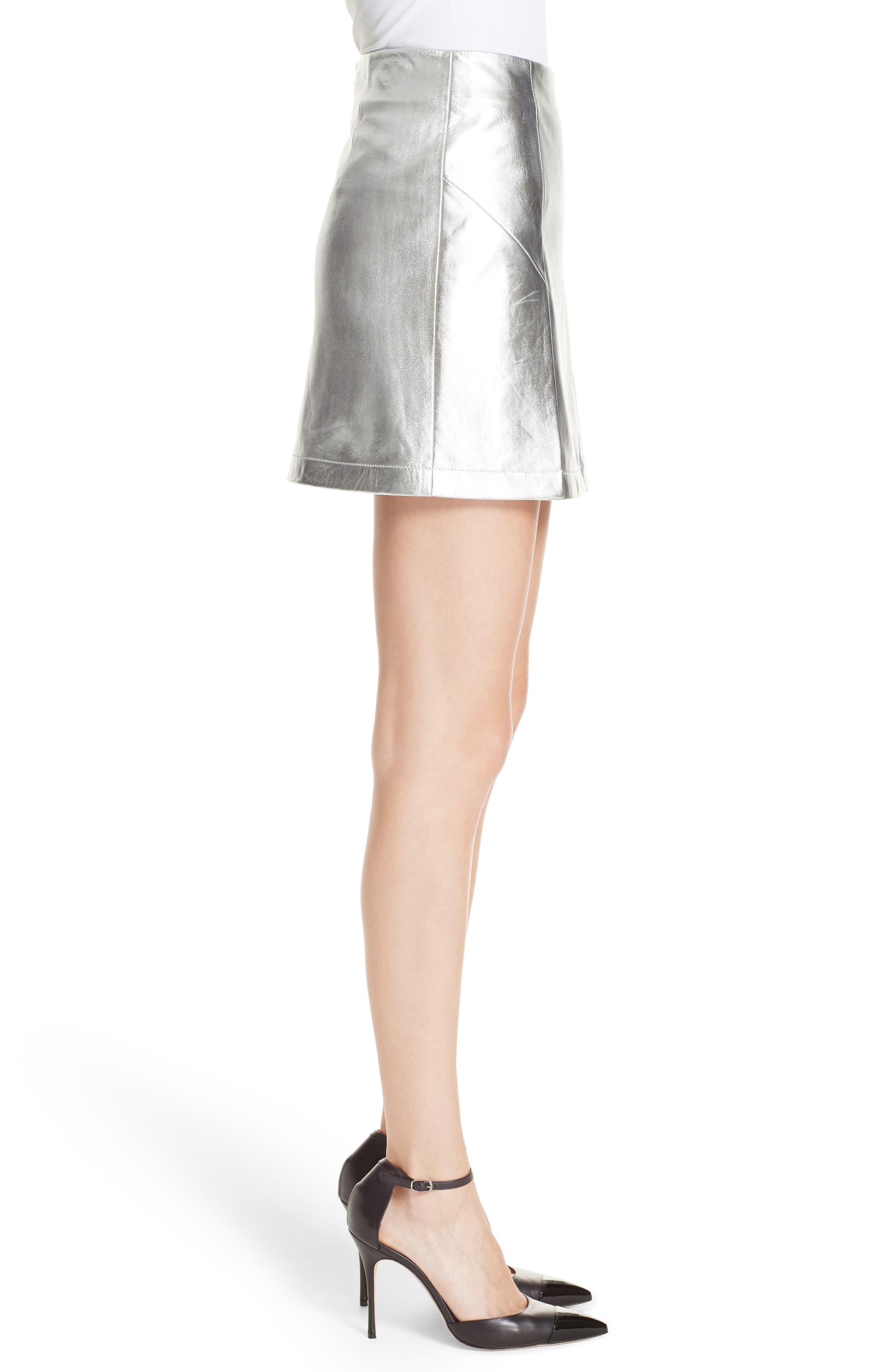 Metallic Leather Miniskirt,                             Alternate thumbnail 3, color,                             040