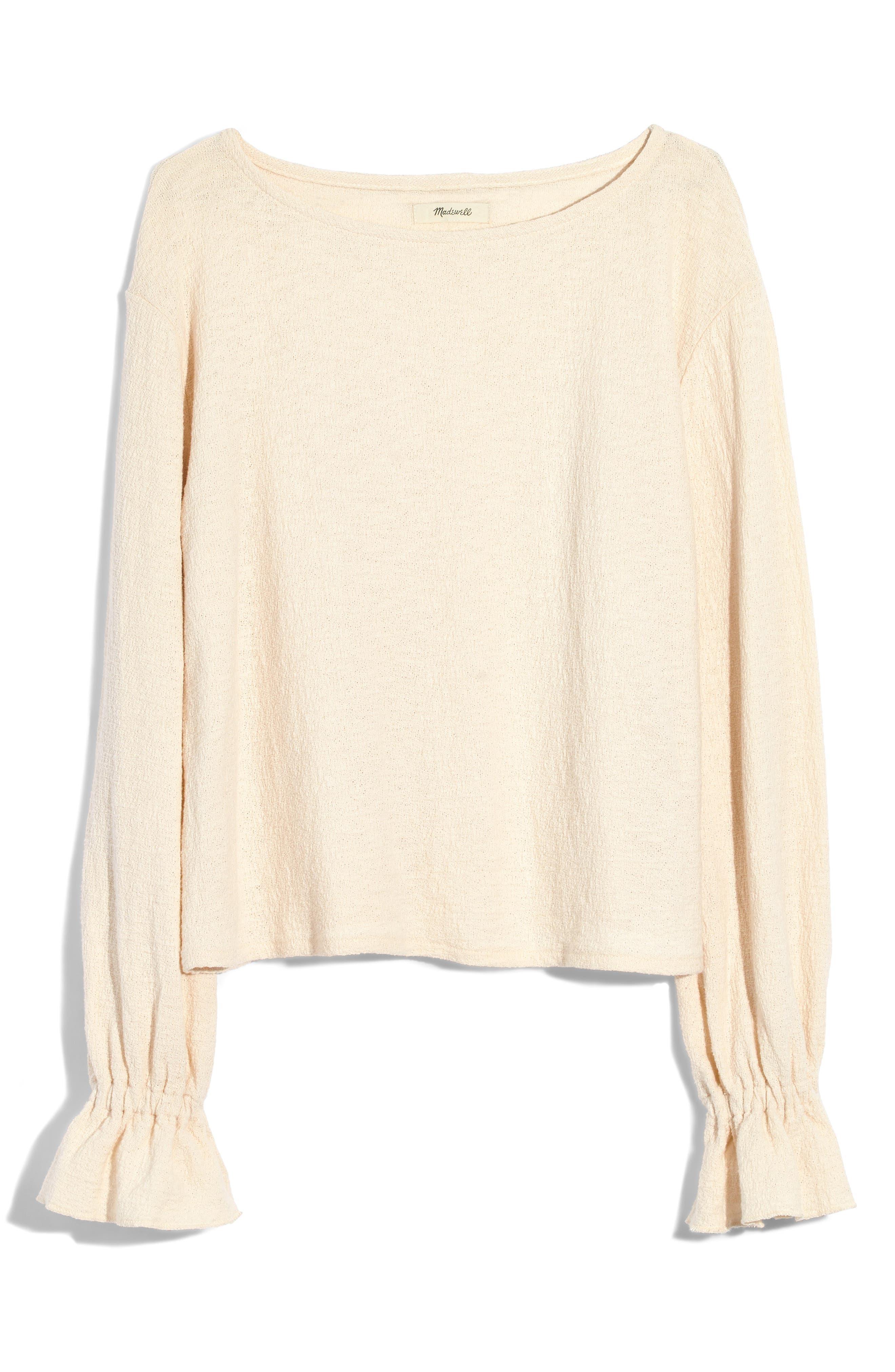 Texture & Thread Ruffle Cuff Top, Main, color, BLEACHED LINEN