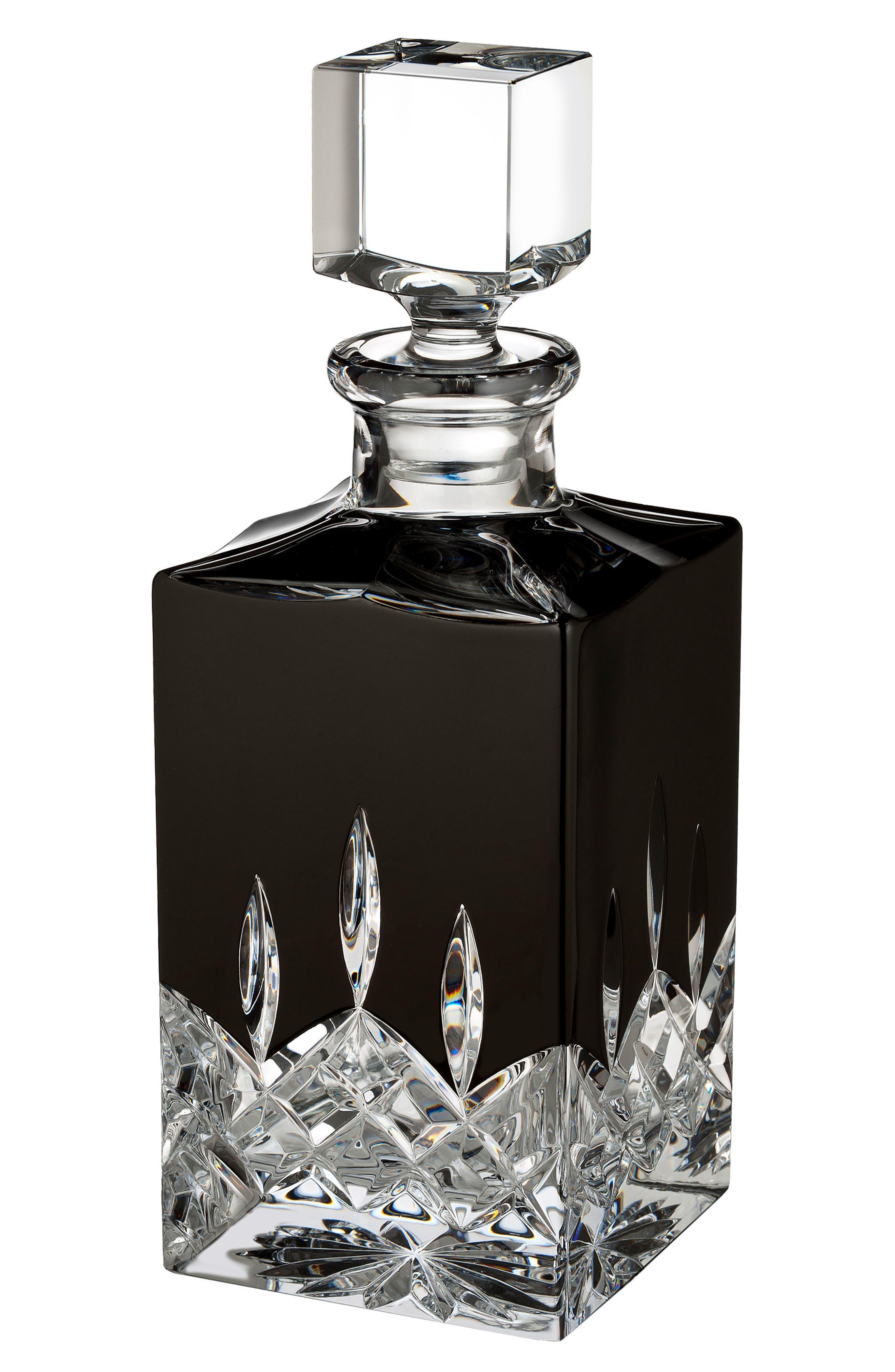Lismore Black Square Lead Crystal Decanter,                             Main thumbnail 1, color,                             001