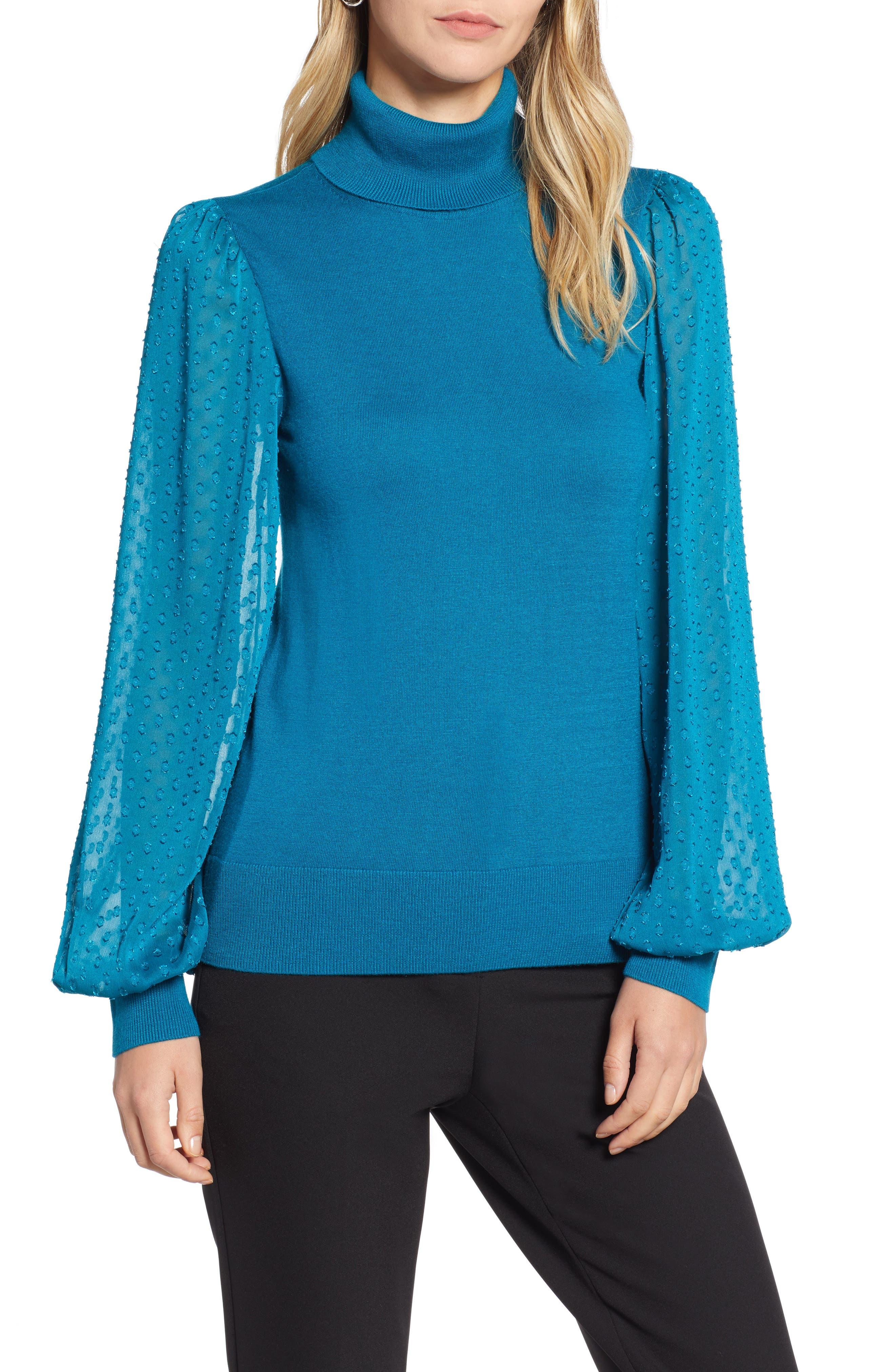 Sheer Sleeve Turtleneck Sweater,                         Main,                         color, 449