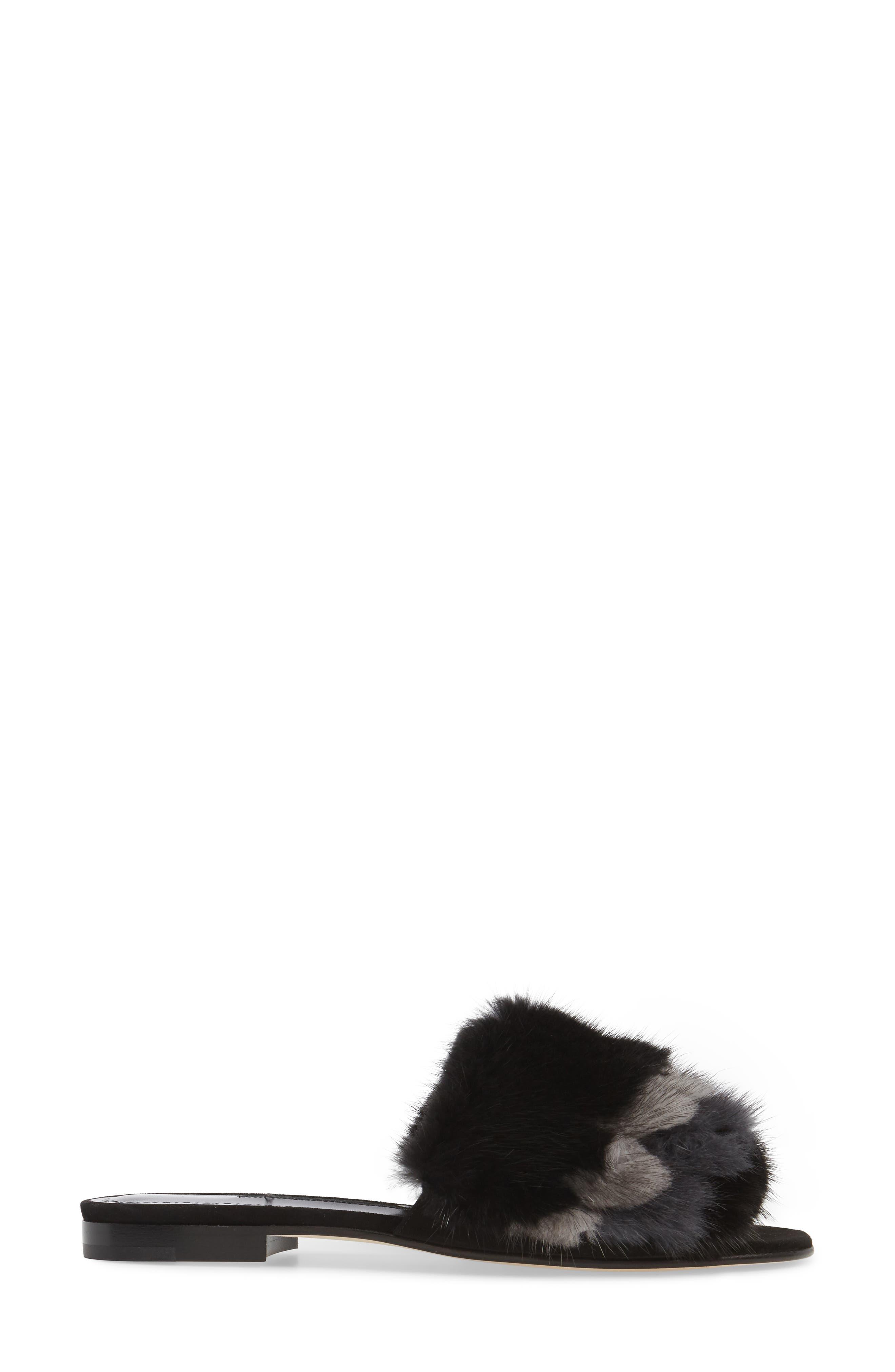 Pelosusmin Genuine Mink Fur Slide Sandal,                             Alternate thumbnail 3, color,                             001